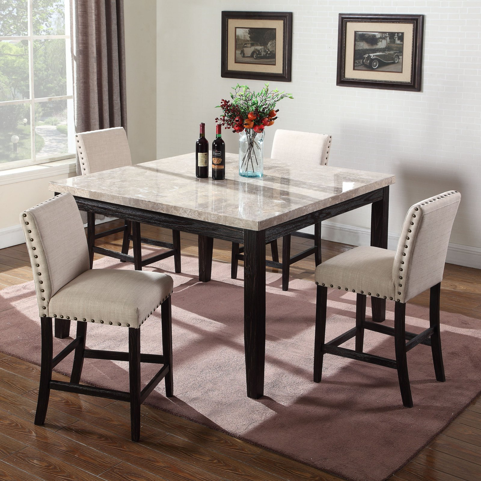 Best Master Furniture Celeste Square 5 Piece Faux Marble Counter Within Newest Bryson 5 Piece Dining Sets (Image 2 of 20)