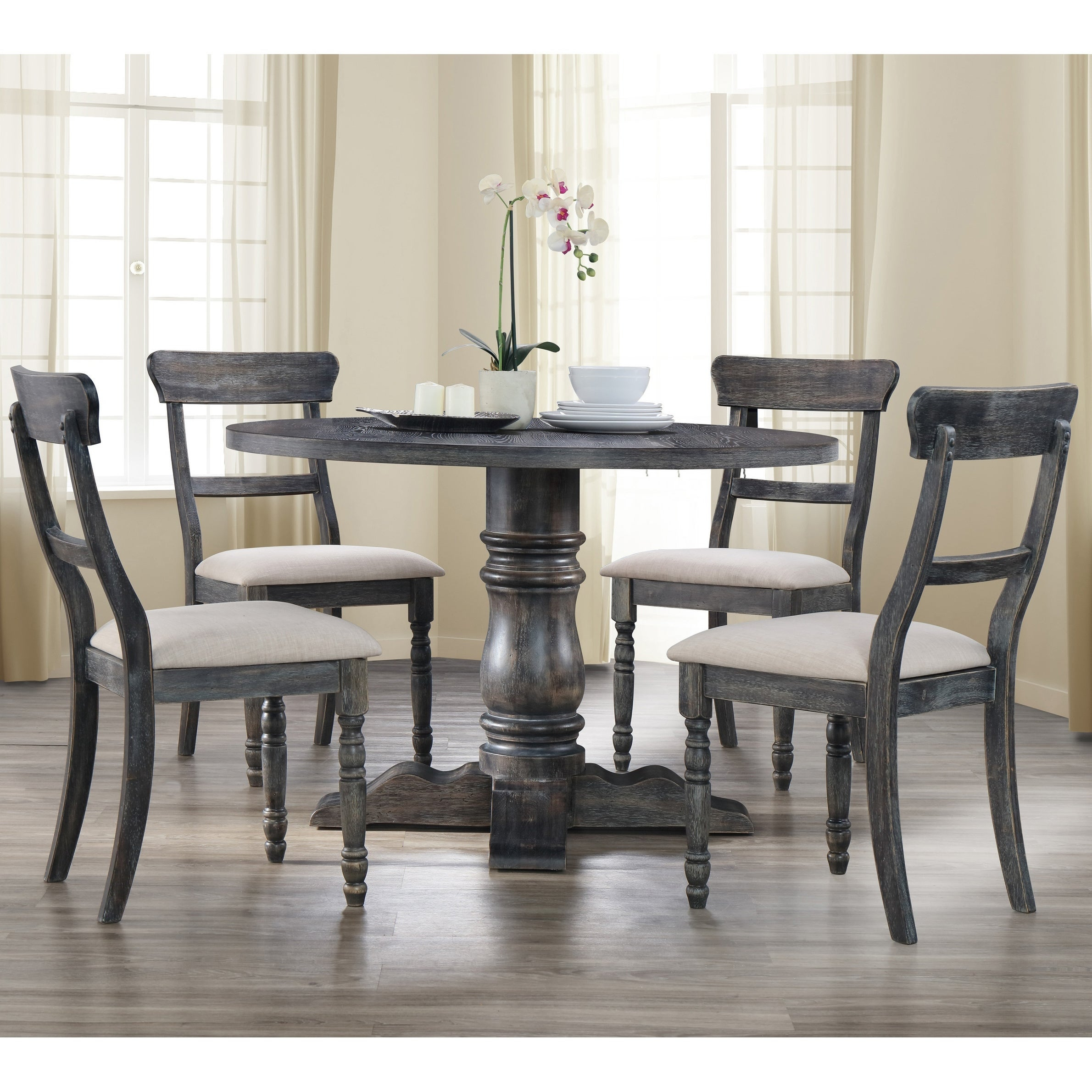 Best Master Furniture Weathered Grey 5 Pcs Dinette Set Throughout Most Recent Debby Small Space 3 Piece Dining Sets (View 10 of 20)