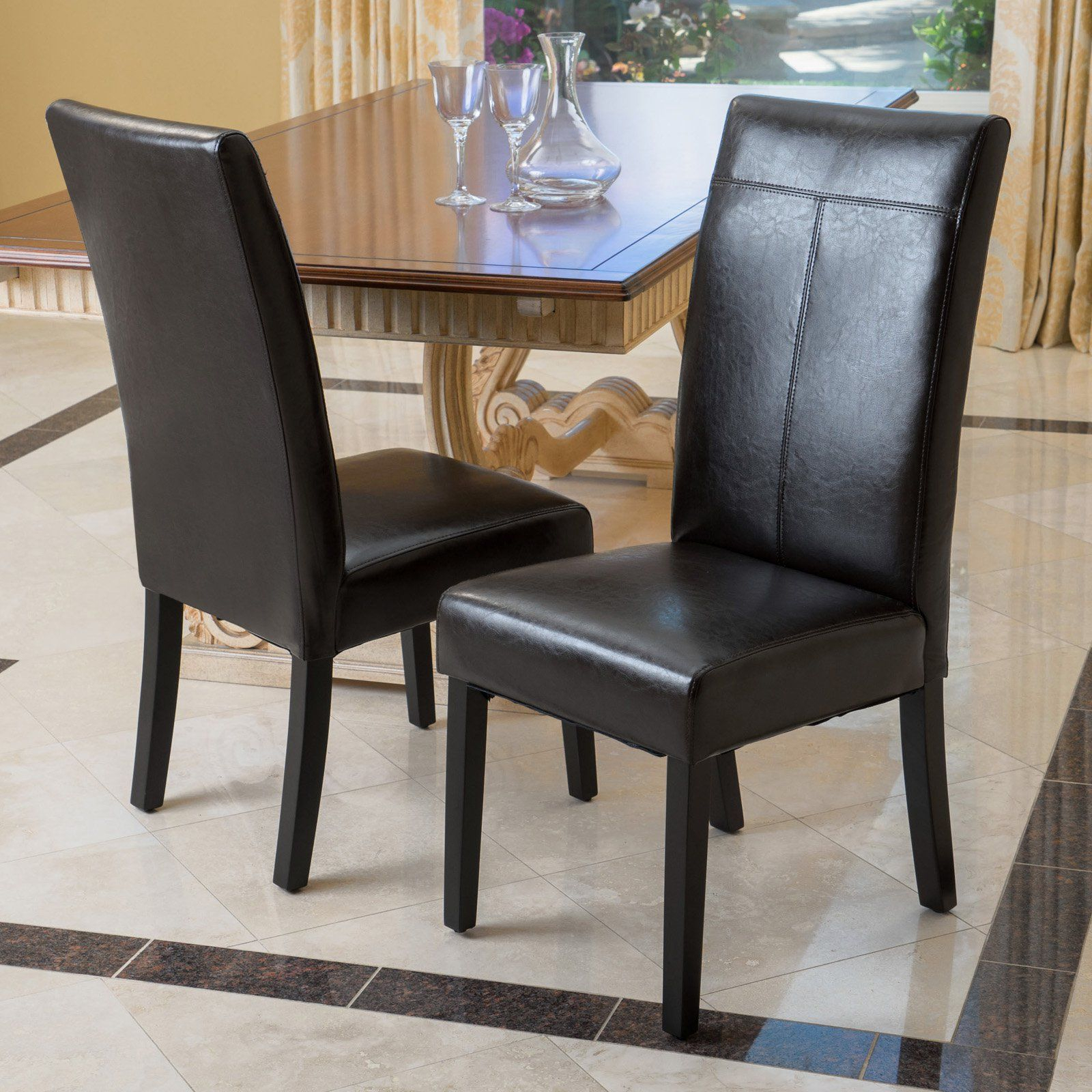 Best Selling Home Caleb Pu Leather Dining Chair – Set Of 2 – 217146 With Best And Newest Baillie 3 Piece Dining Sets (Image 3 of 20)