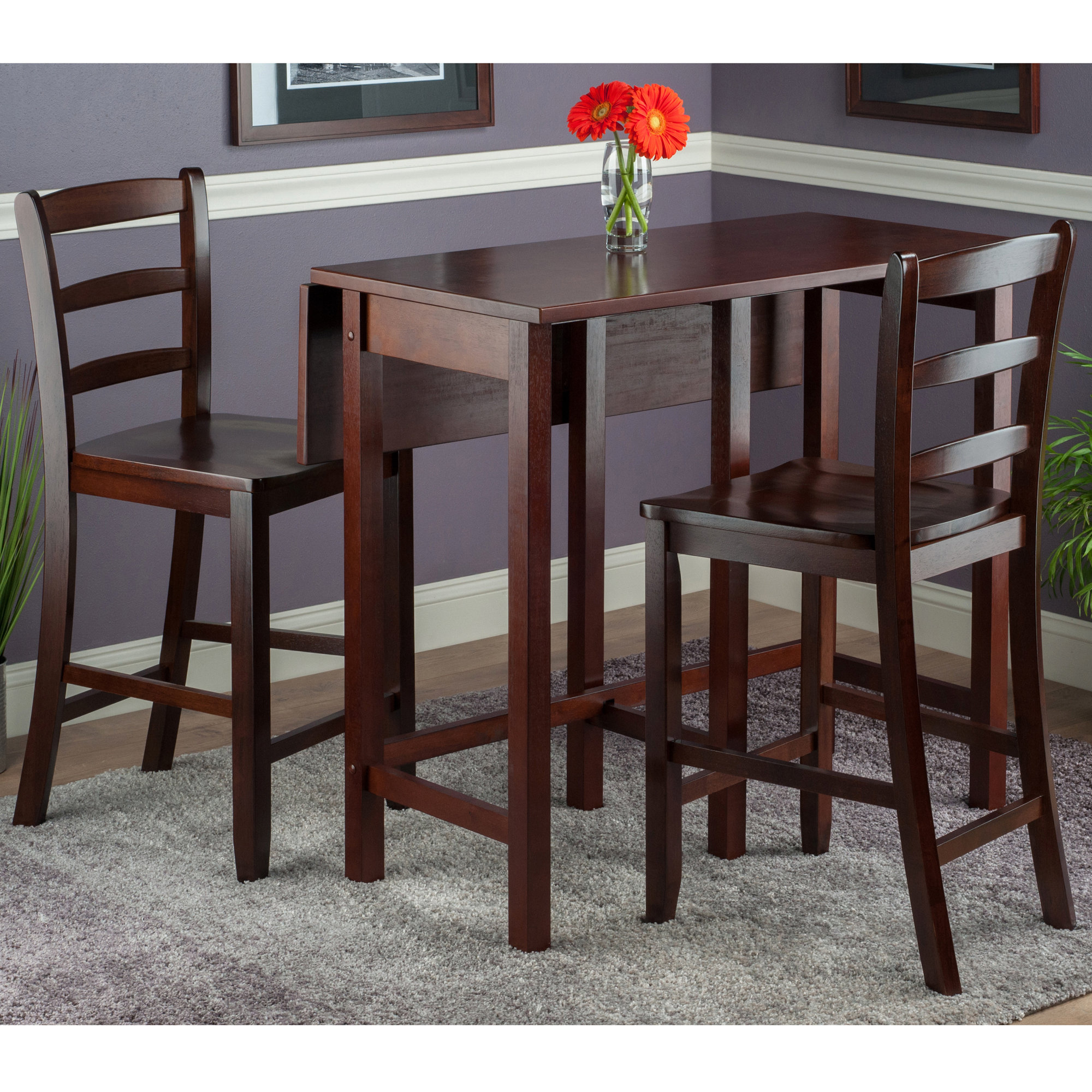 Bettencourt 3 Piece Drop Leaf Dining Set Inside Most Up To Date Bettencourt 3 Piece Counter Height Solid Wood Dining Sets (View 4 of 20)