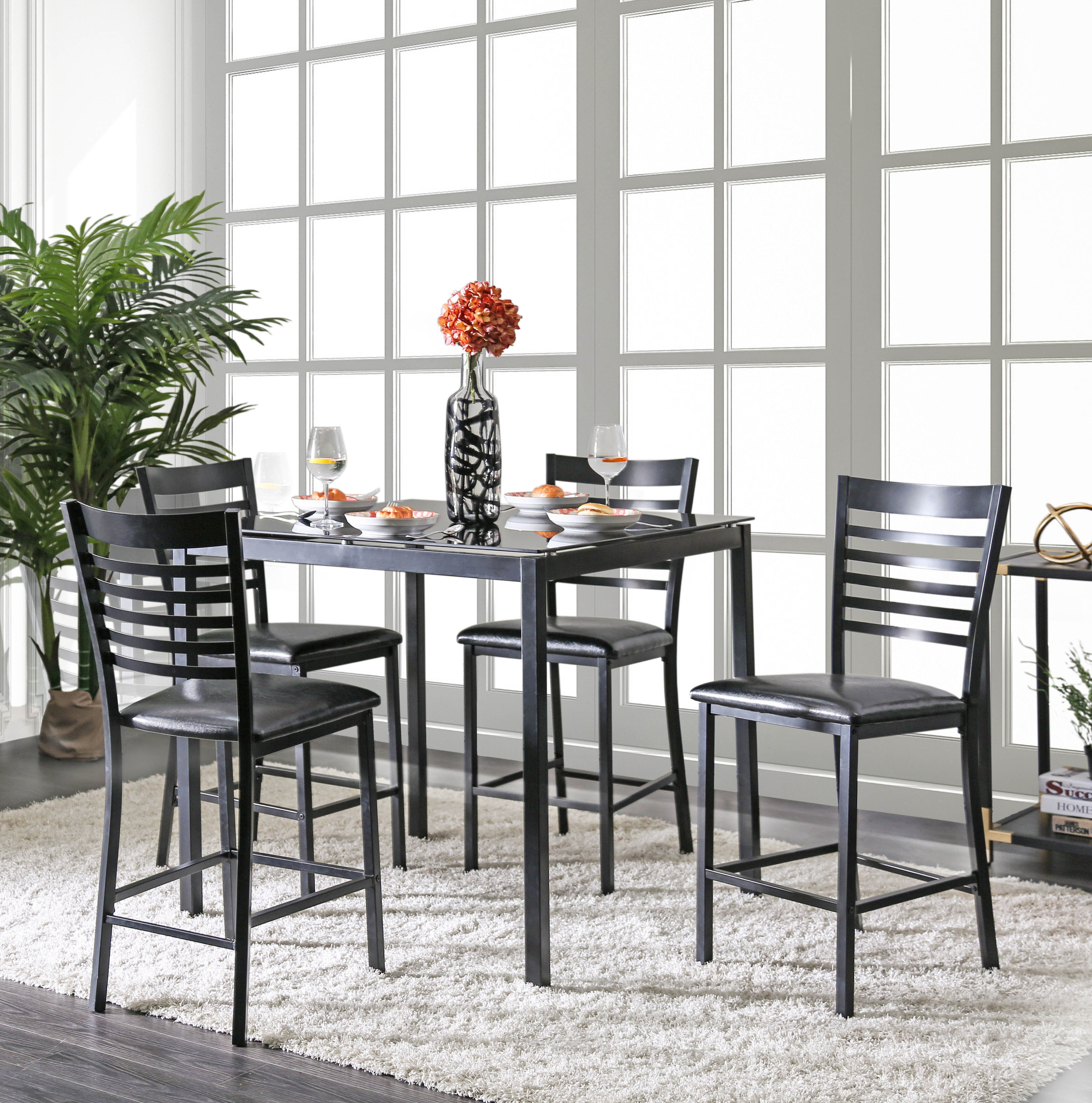 Bhamidipati Pub 5 Piece Dining Set Pertaining To Latest Lightle 5 Piece Breakfast Nook Dining Sets (Image 2 of 20)