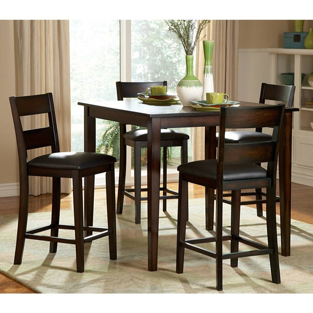 Featured Image of Biggs 5 Piece Counter Height Solid Wood Dining Sets (Set Of 5)