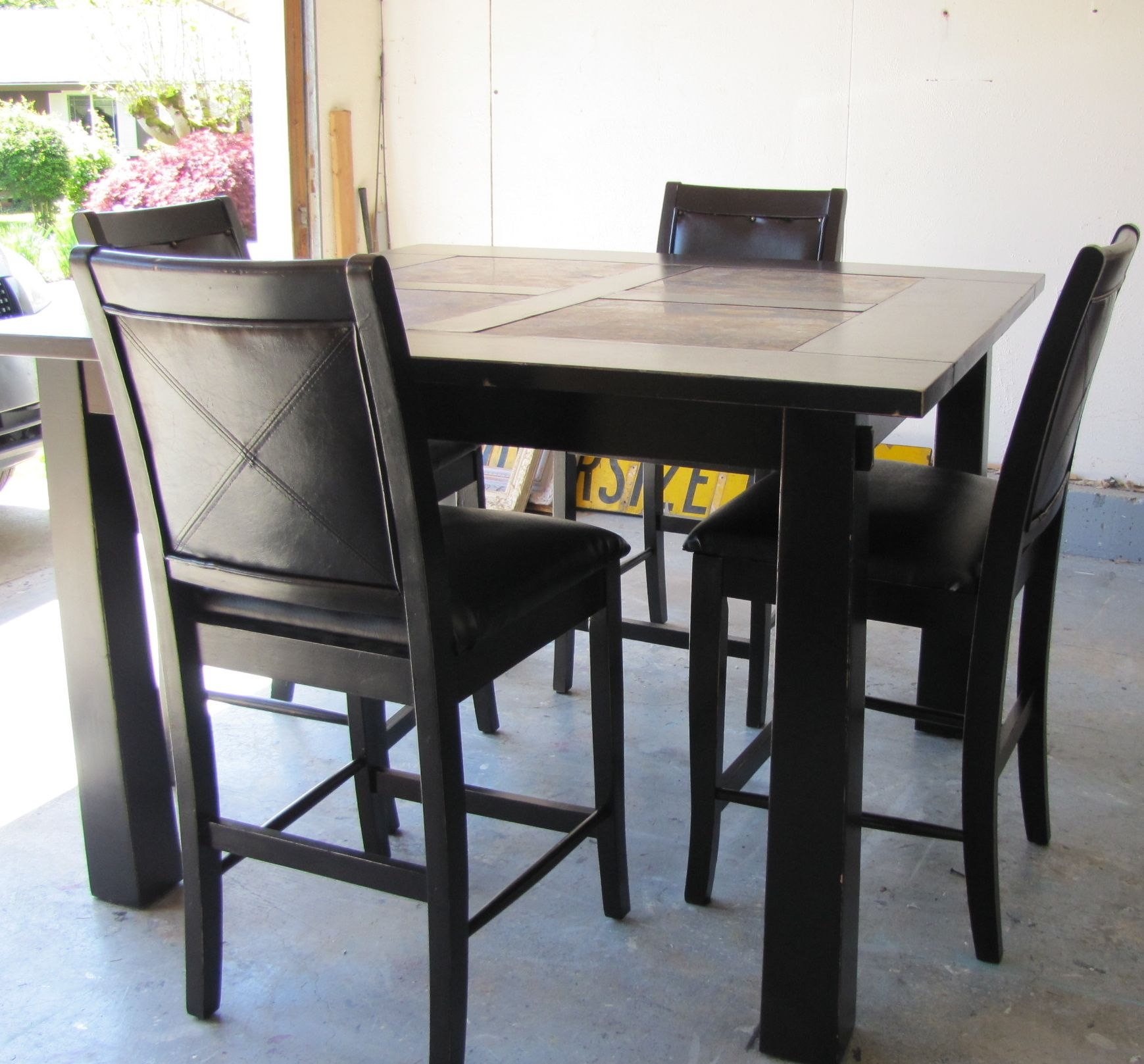 Black Distressed Pub Style Dining Table | Furniture | Pub Dining Set Pertaining To Best And Newest Anette 3 Piece Counter Height Dining Sets (View 15 of 20)