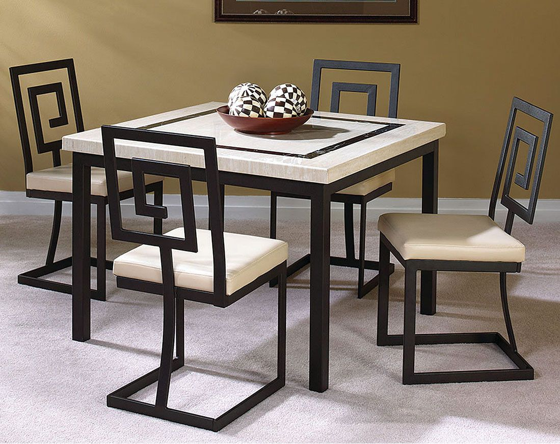 Black Metal Chairs With Ivory Marble Top | Maze 5 Piece Dining Set With Regard To Most Up To Date Cargo 5 Piece Dining Sets (View 5 of 20)