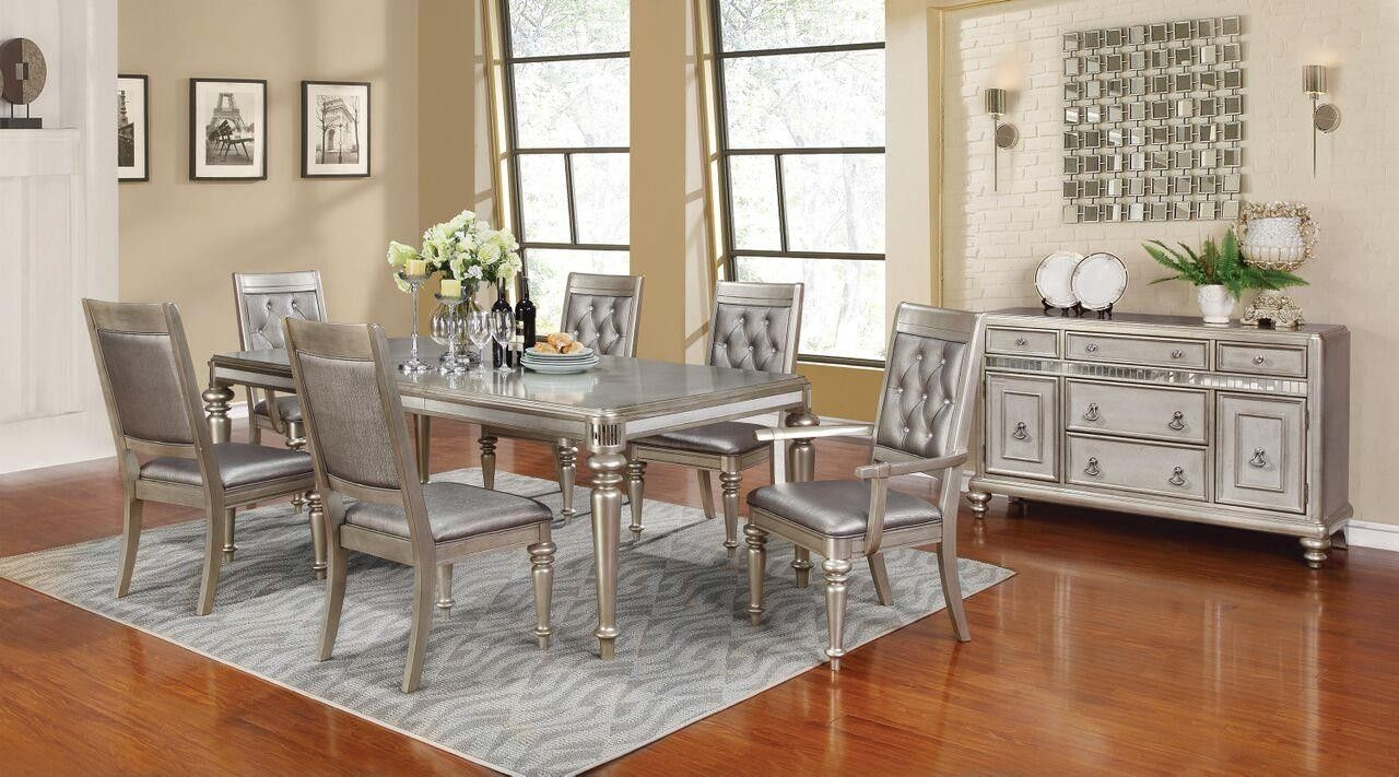 Bling Game Collection Metallic Platinum Dining Room Table 106471 Throughout Most Up To Date Lamotte 5 Piece Dining Sets (Image 3 of 20)