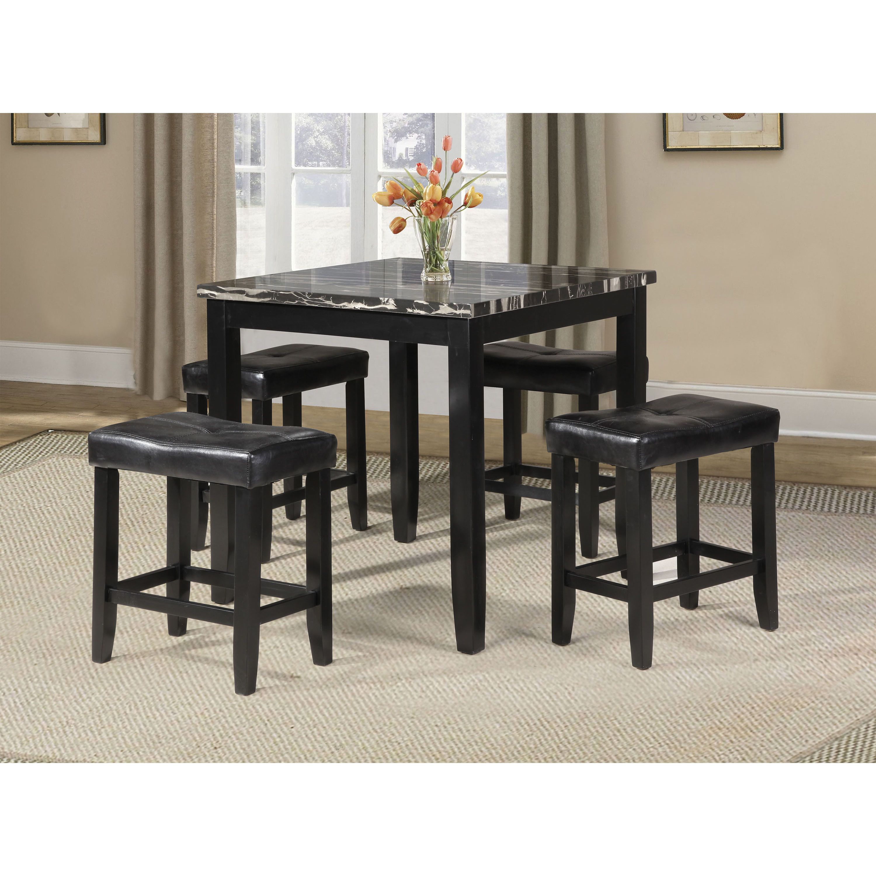 Blythe 5 Piece Pack Counter Height Set Table And Stools (Rolle 5Pc In Most Current Denzel 5 Piece Counter Height Breakfast Nook Dining Sets (Image 4 of 20)