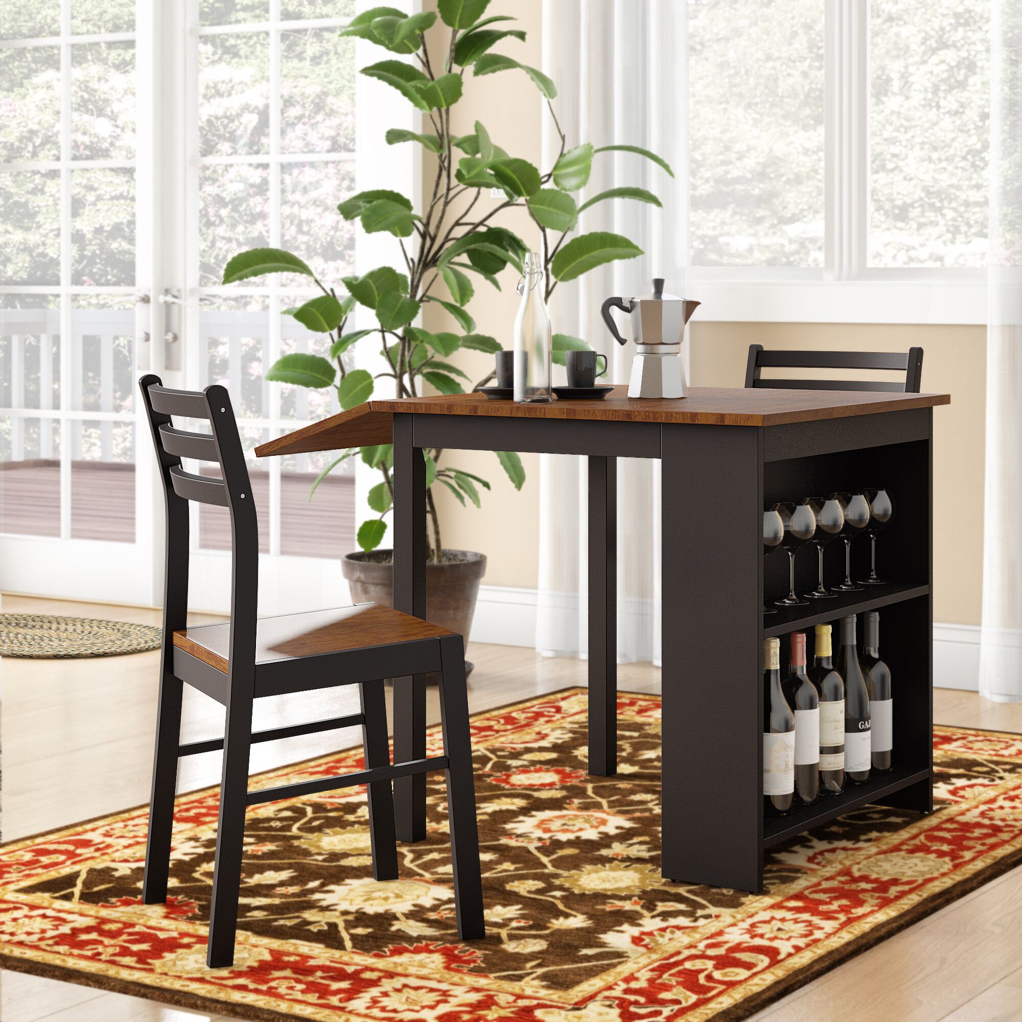 Boehmer 3 Piece Dining Set Inside Best And Newest Baillie 3 Piece Dining Sets (Image 4 of 20)