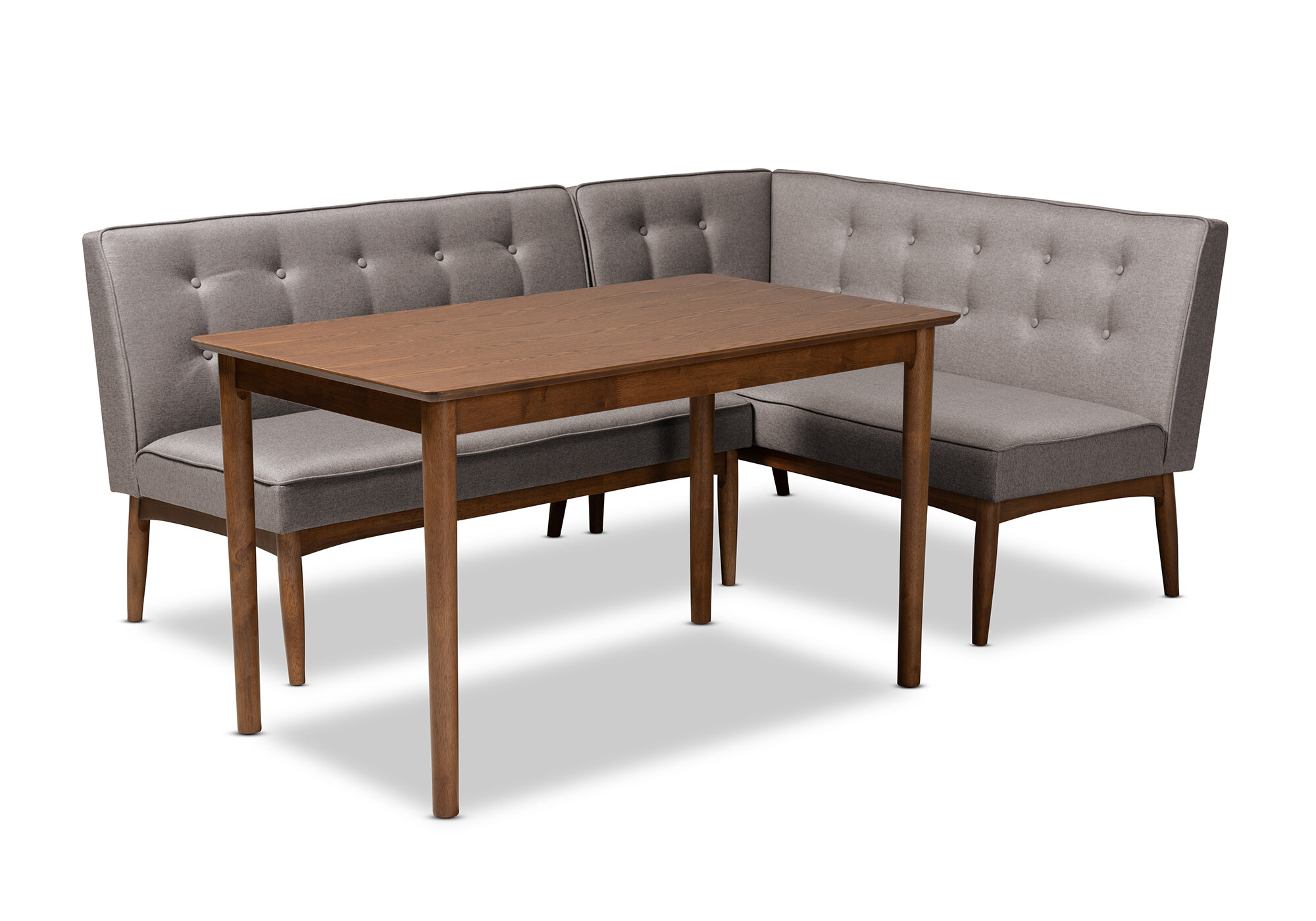 Bopp Mid Century Modern Upholstered 3 Piece Breakfast Nook Dining Set Intended For 2018 Liles 5 Piece Breakfast Nook Dining Sets (View 3 of 20)