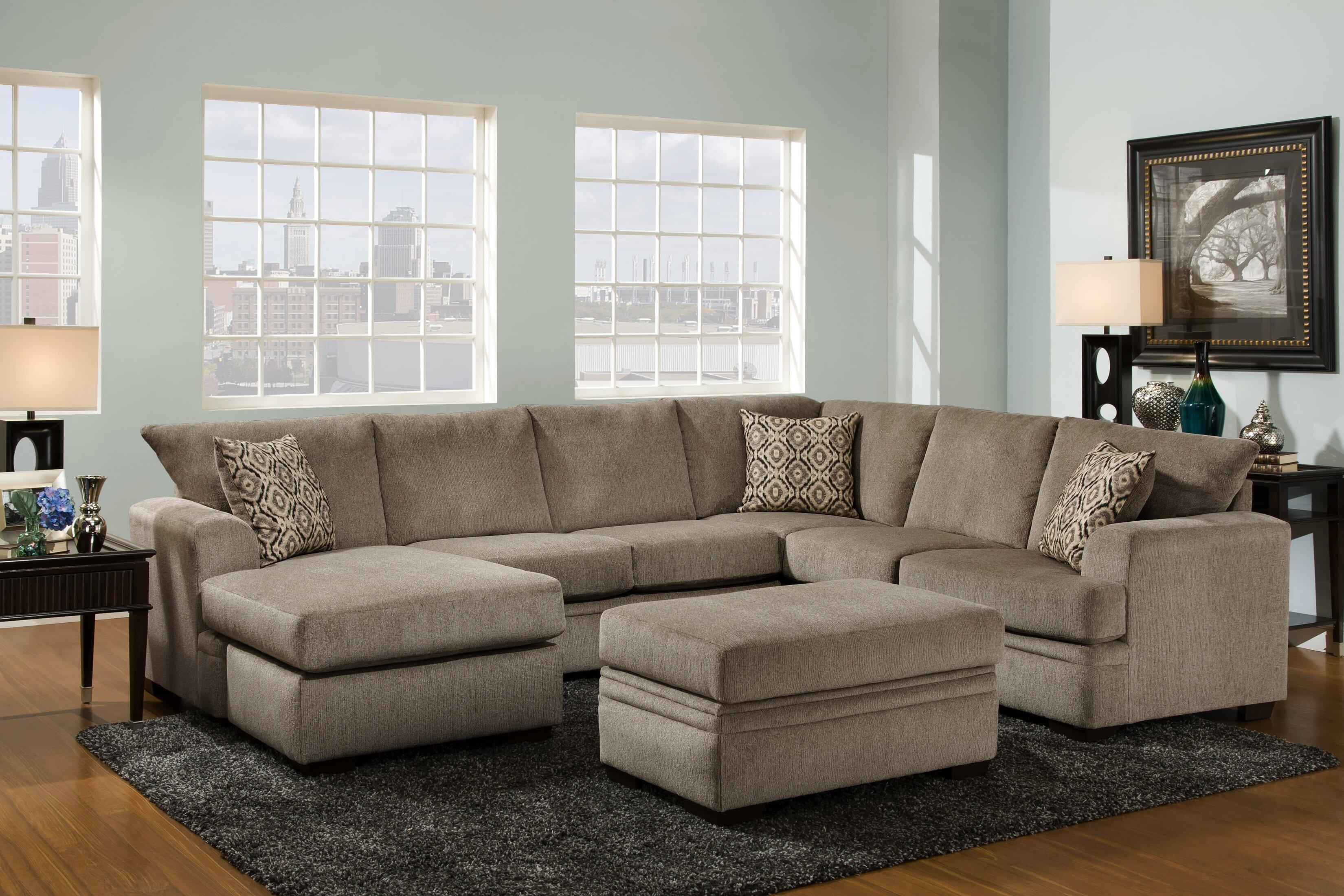 Bourgeois Sectional With 2017 Rarick 5 Piece Solid Wood Dining Sets (Set Of 5) (Image 6 of 20)