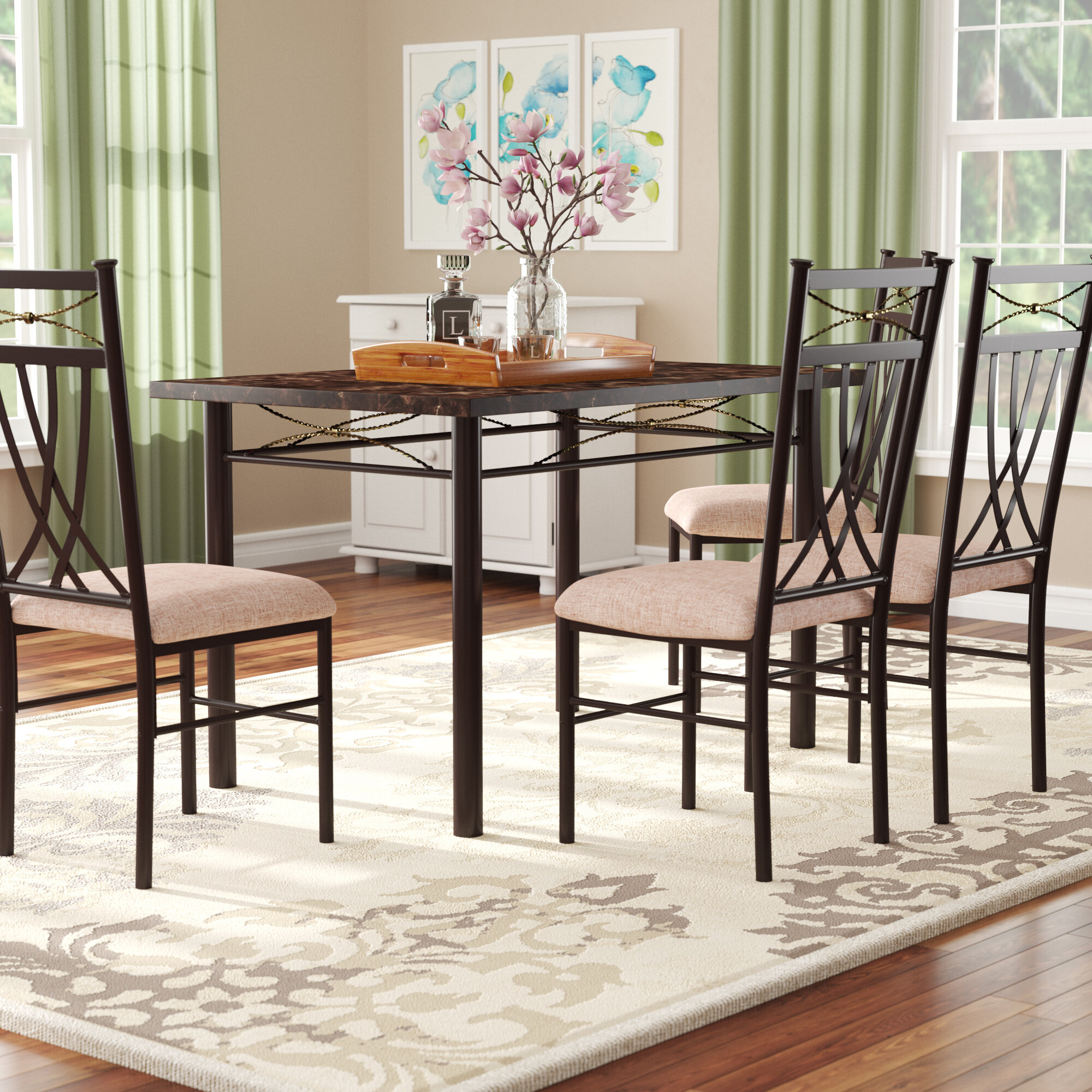 Branden 5 Piece Dining Set Pertaining To Current Kieffer 5 Piece Dining Sets (View 4 of 20)