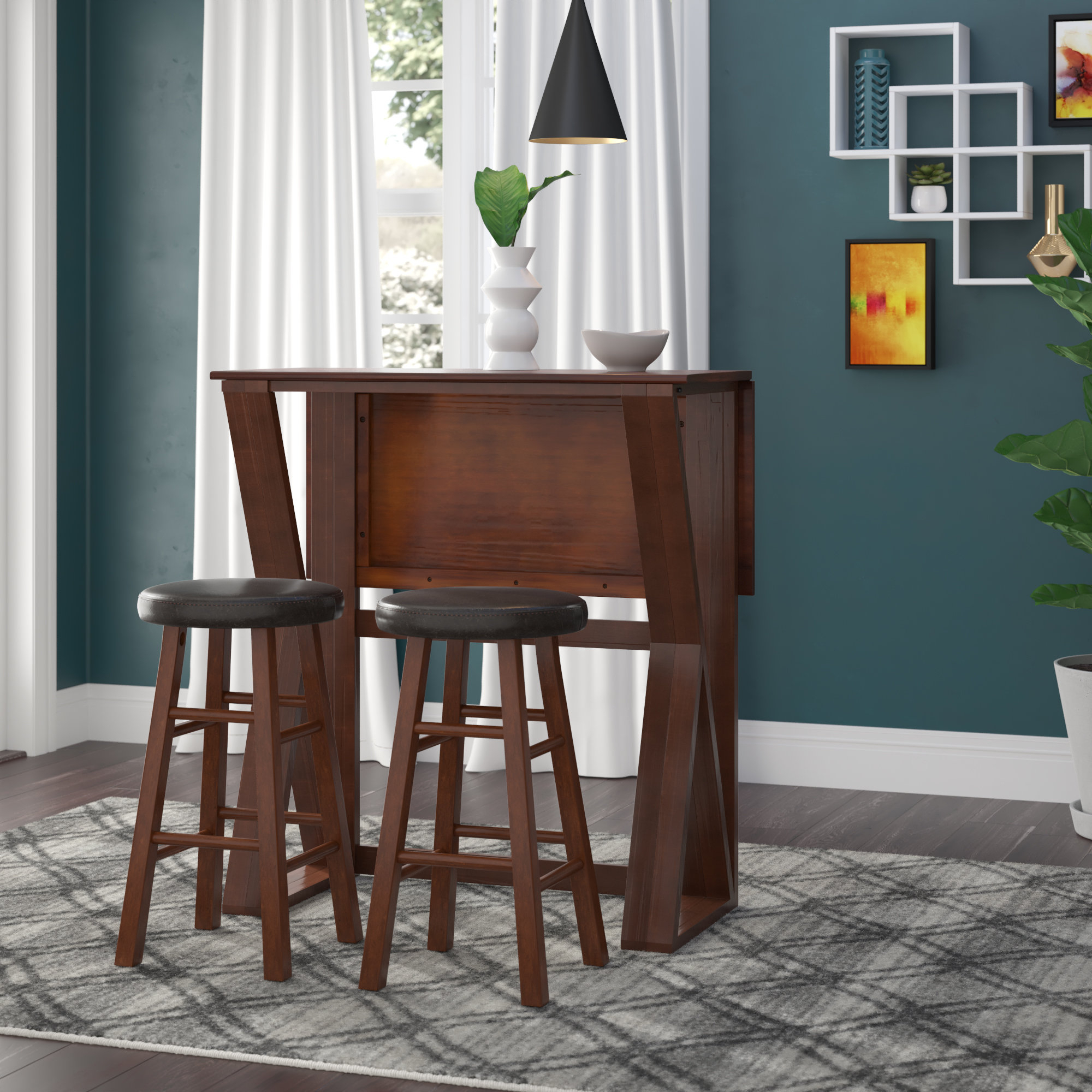 Brayan 3 Piece Drop Leaf Solid Wood Dining Set Throughout Most Up To Date Lonon 3 Piece Dining Sets (Image 3 of 20)