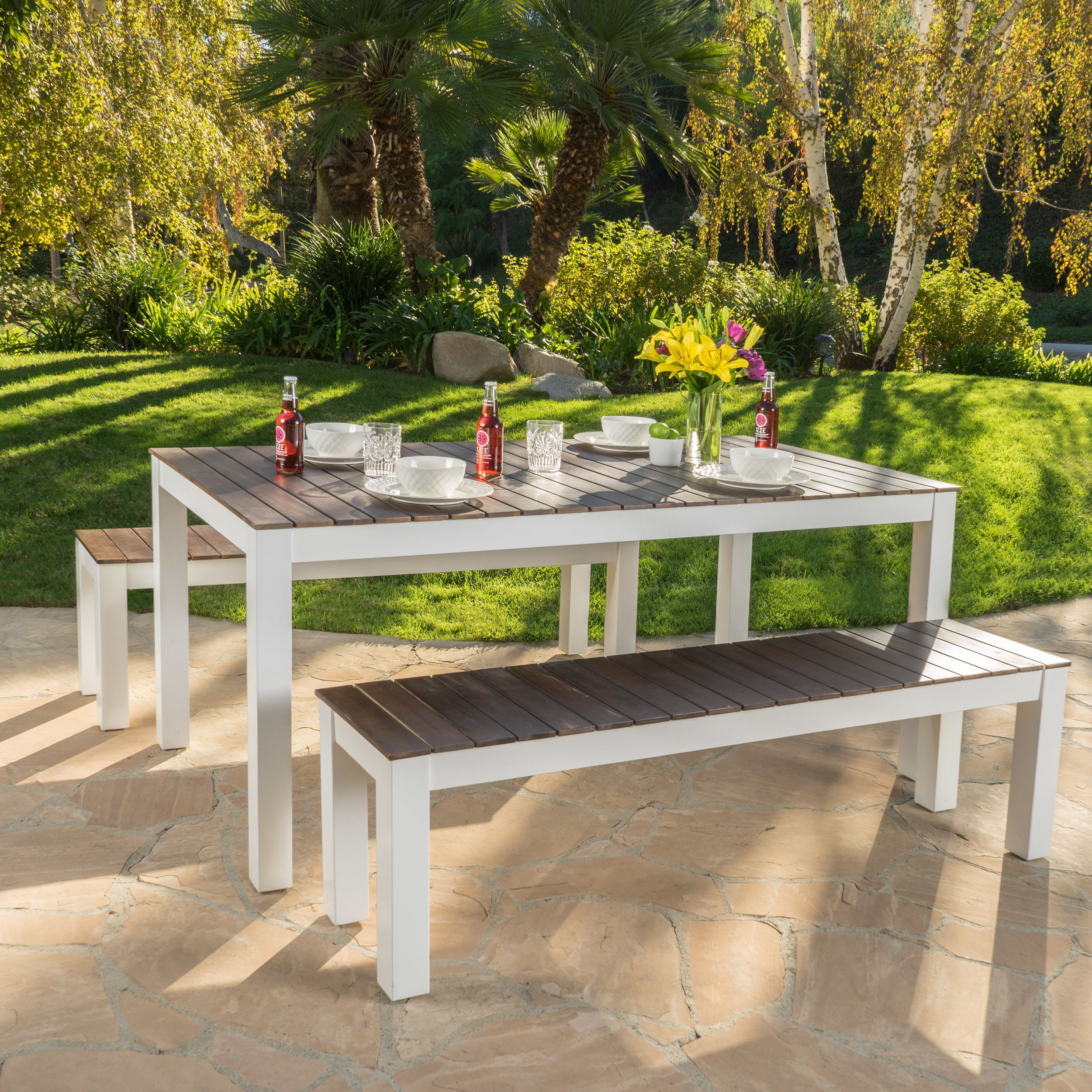 Breakwater Bay St Croix 3 Piece Wood Picnic Set | Home | Outdoor Within Most Current Saintcroix 3 Piece Dining Sets (View 2 of 20)