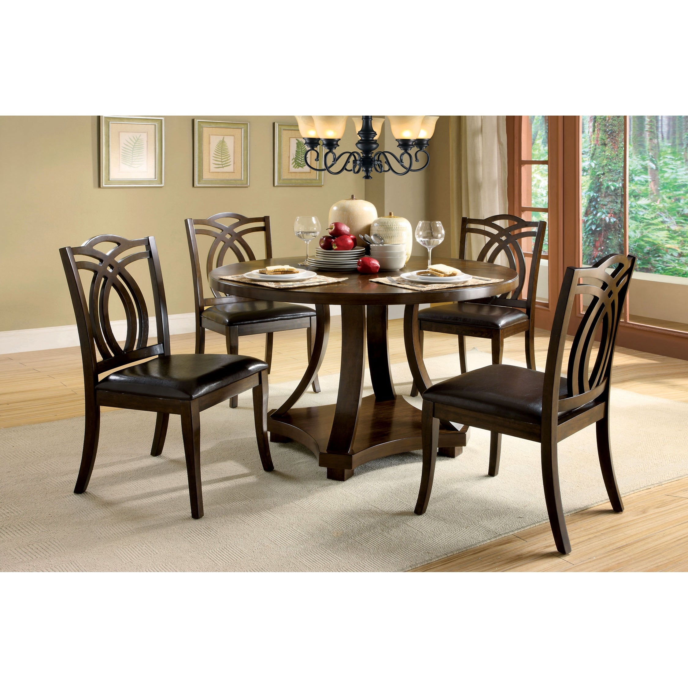 Briggs Contemporary 48 Inch Dark Walnut Dining Tablefoa – Dark Walnut For 2017 Biggs 5 Piece Counter Height Solid Wood Dining Sets (Set Of 5) (Photo 11 of 20)