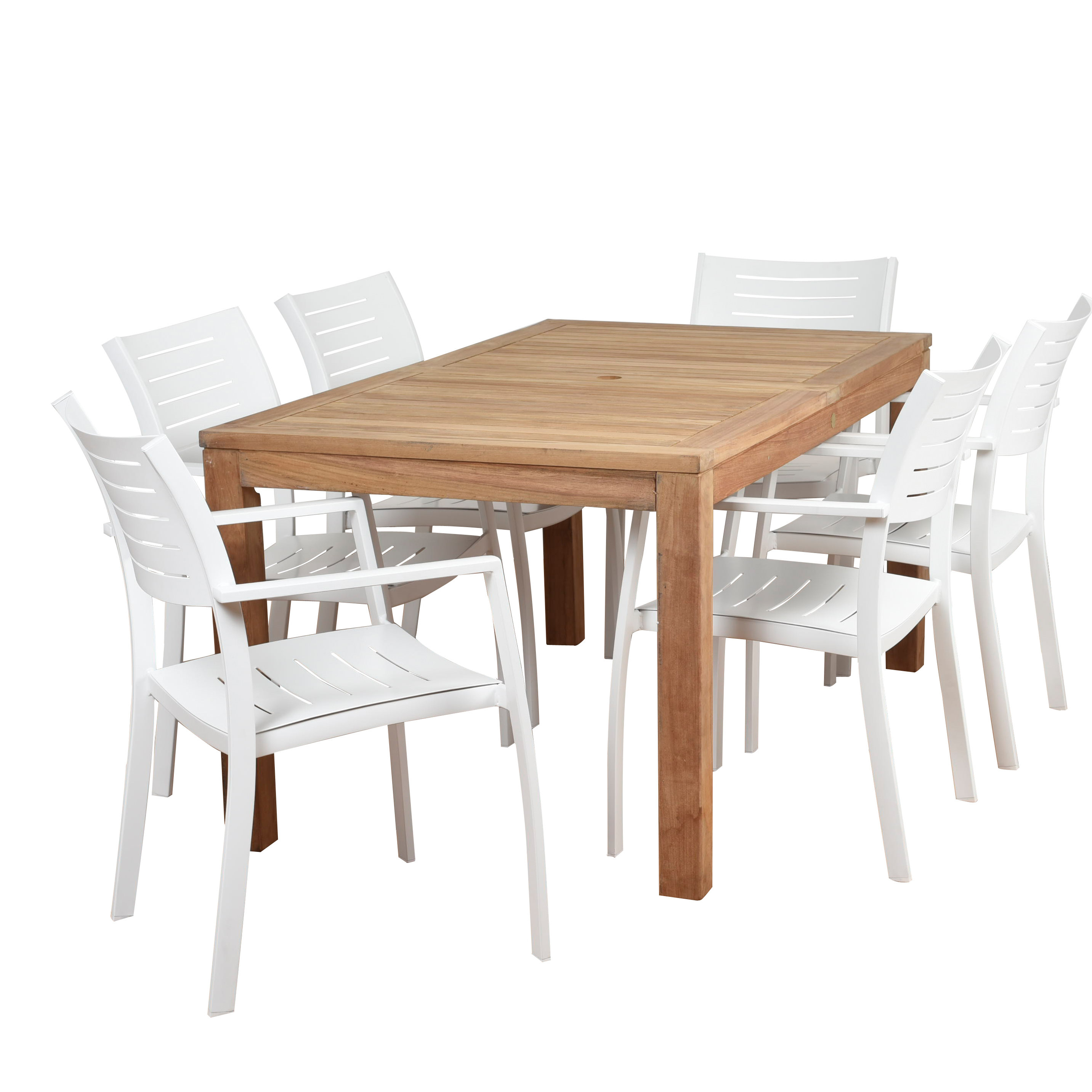Brighton 7 Piece Teak Dining Set With Regard To Best And Newest Rossi 5 Piece Dining Sets (Image 2 of 20)