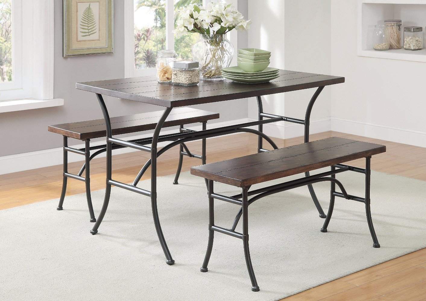 Brune Metal 3 Piece Dining Set Intended For Most Recently Released Kerley 4 Piece Dining Sets (Image 3 of 20)