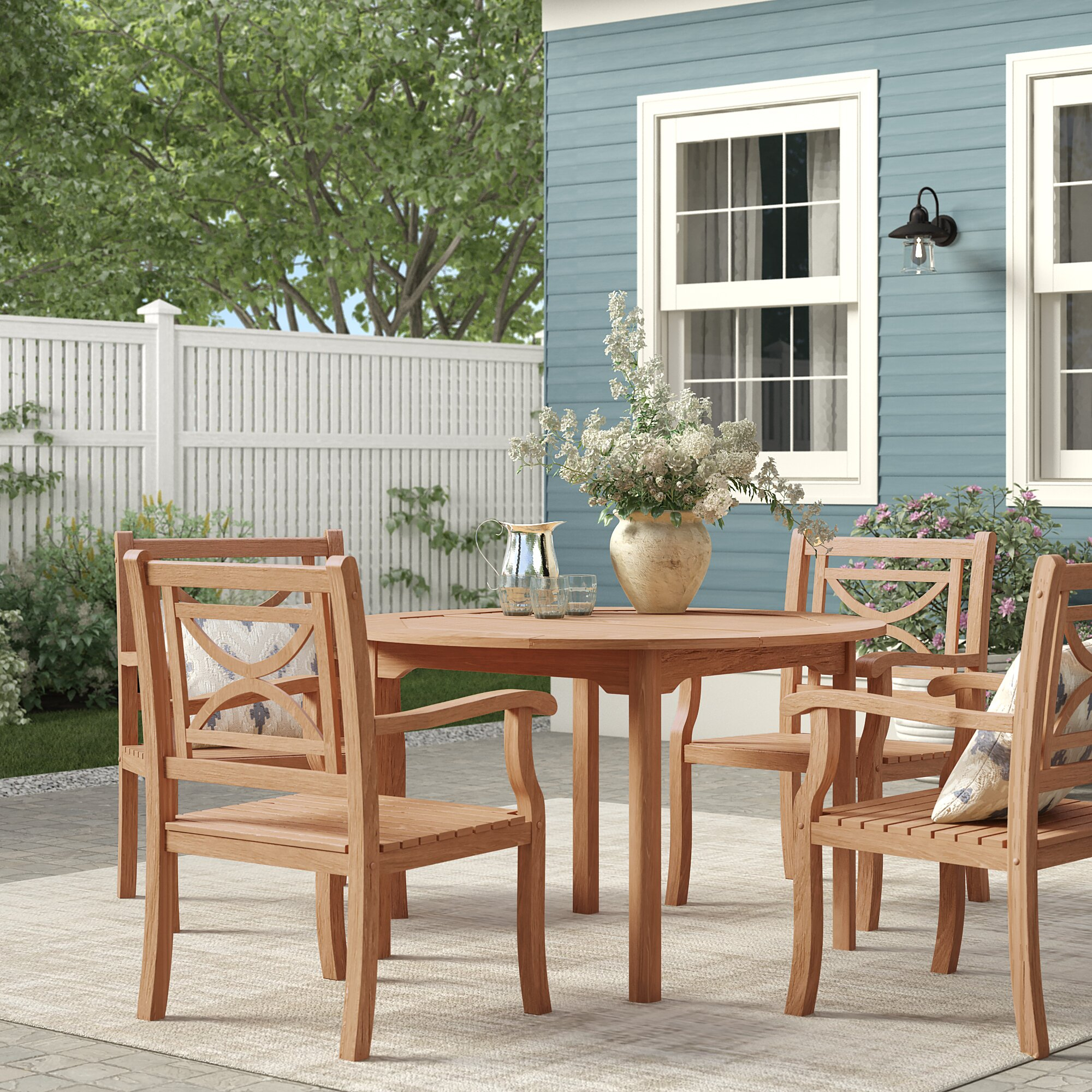 Brunswick 5 Piece Teak Dining Set With Regard To Current Adan 5 Piece Solid Wood Dining Sets (Set Of 5) (Image 14 of 20)