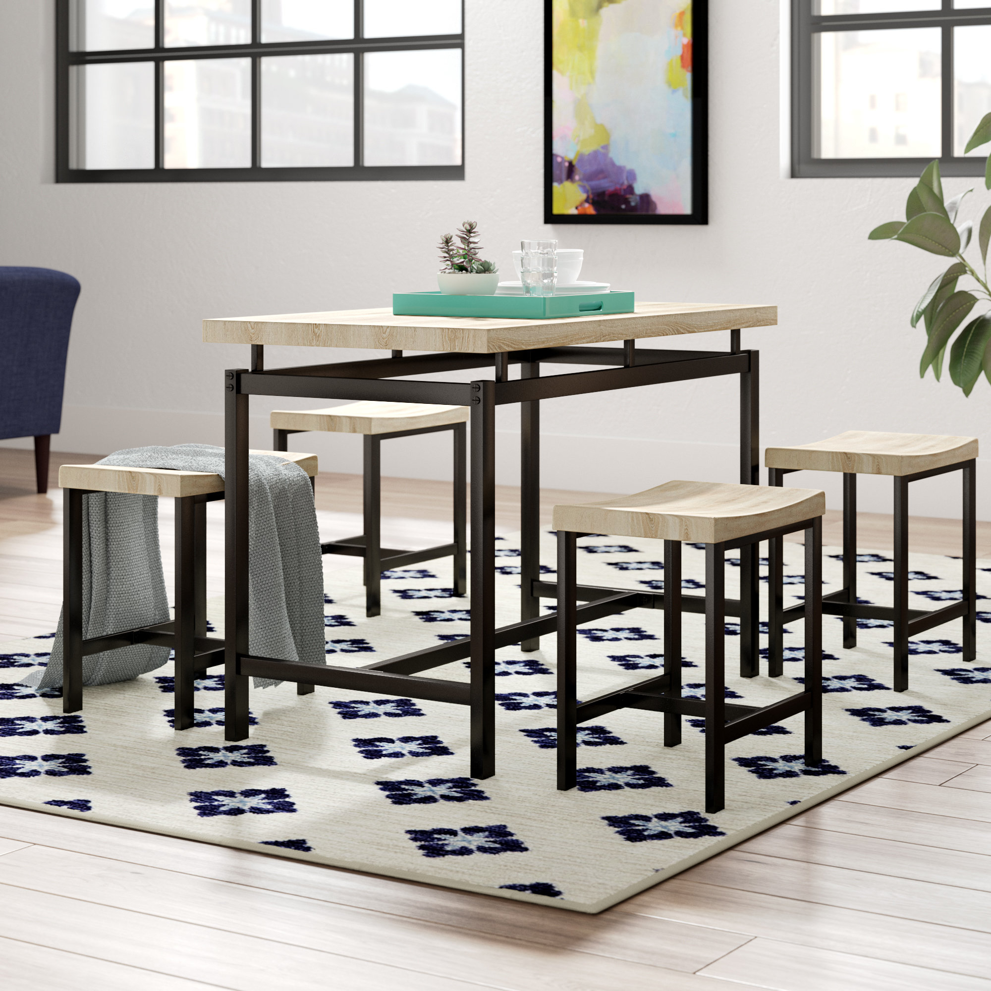 Bryson 5 Piece Dining Set In Newest Weatherholt Dining Tables (View 7 of 20)