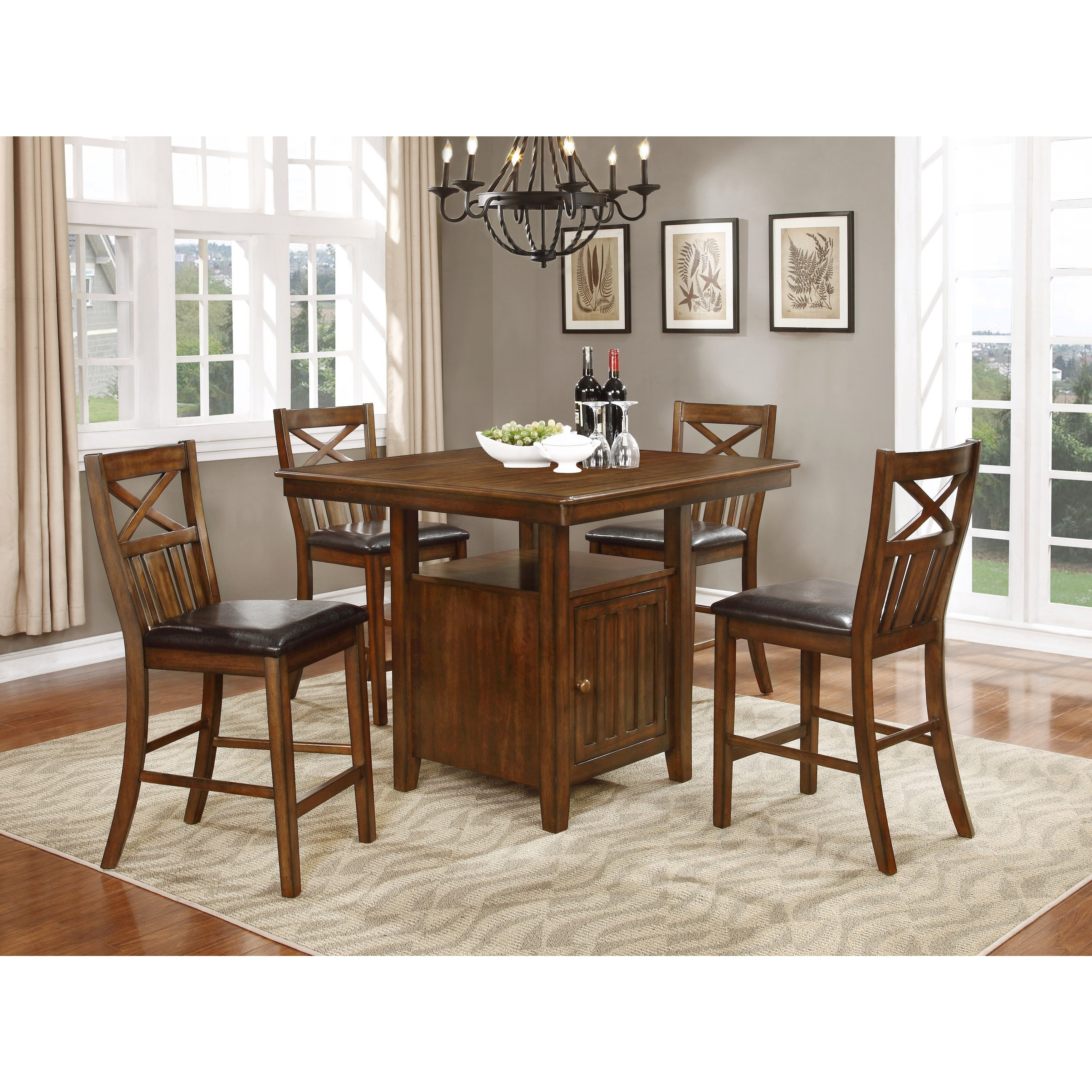 Bryson Cherry Brown Counter Height Dining Table Set W/ Storage Inside Most Recently Released Bryson 5 Piece Dining Sets (Image 8 of 20)