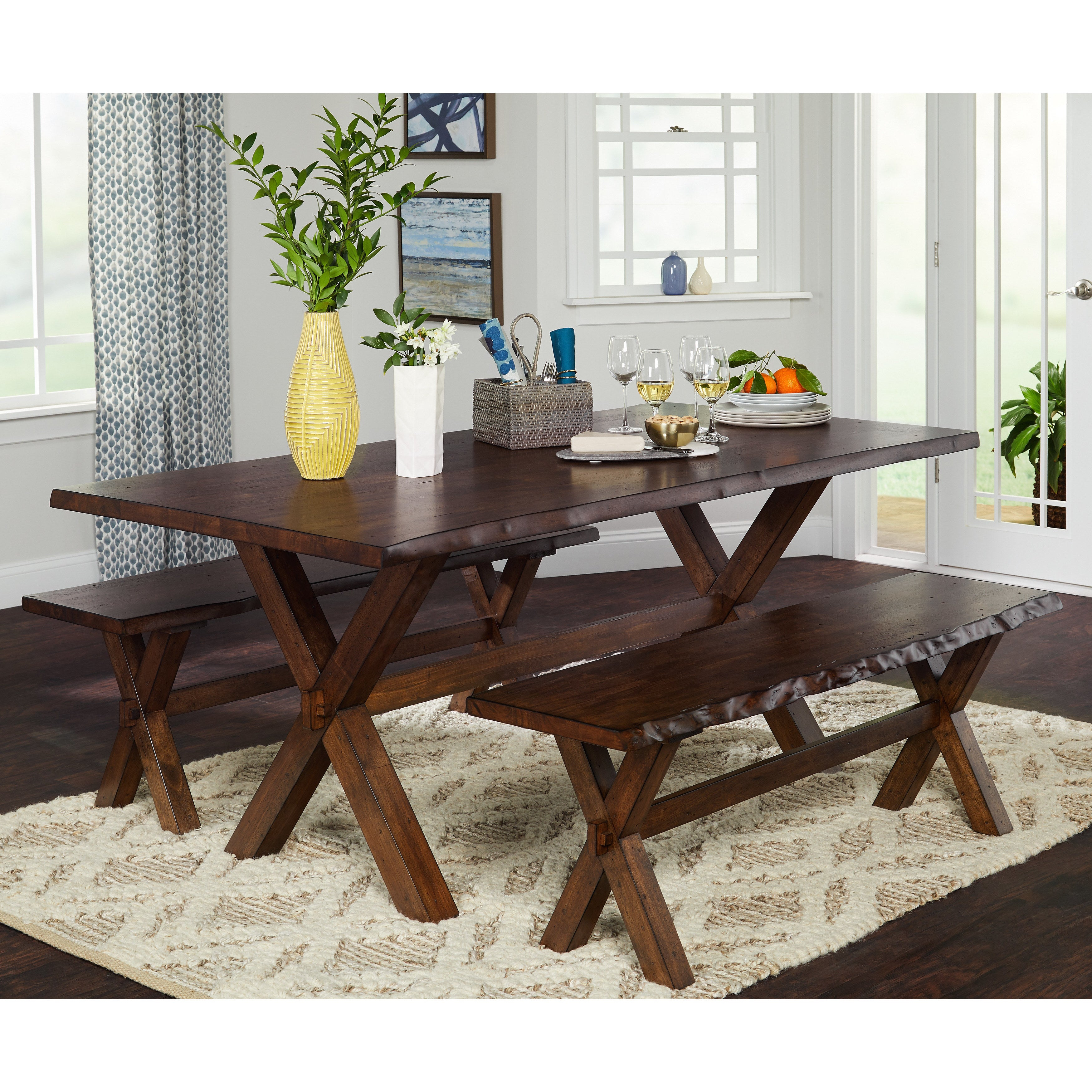 Buy Farmhouse Kitchen & Dining Room Sets Online At Overstock | Our With Regard To Newest Falmer 3 Piece Solid Wood Dining Sets (View 9 of 20)
