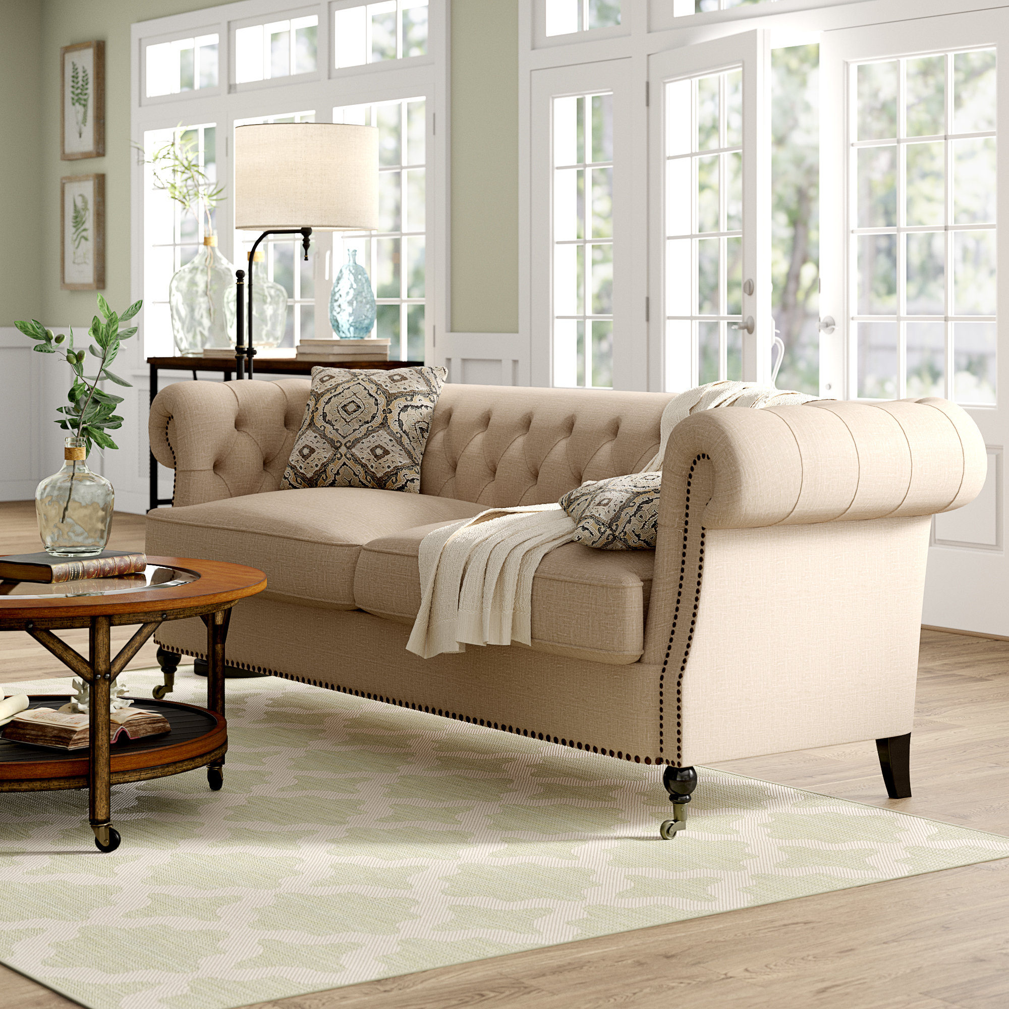Calila Chesterfield Sofa With Regard To Newest Queener 5 Piece Dining Sets (View 18 of 20)
