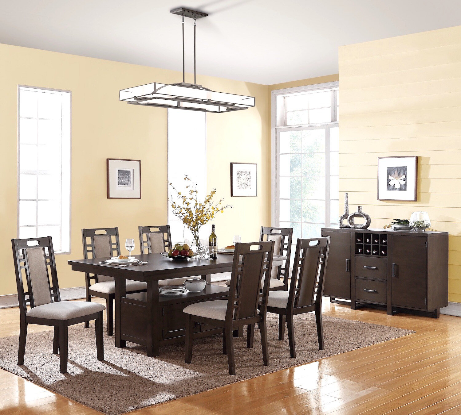 Canora Grey Speier 7 Piece Dining Set For Most Popular Laconia 7 Pieces Solid Wood Dining Sets (Set Of 7) (View 15 of 20)