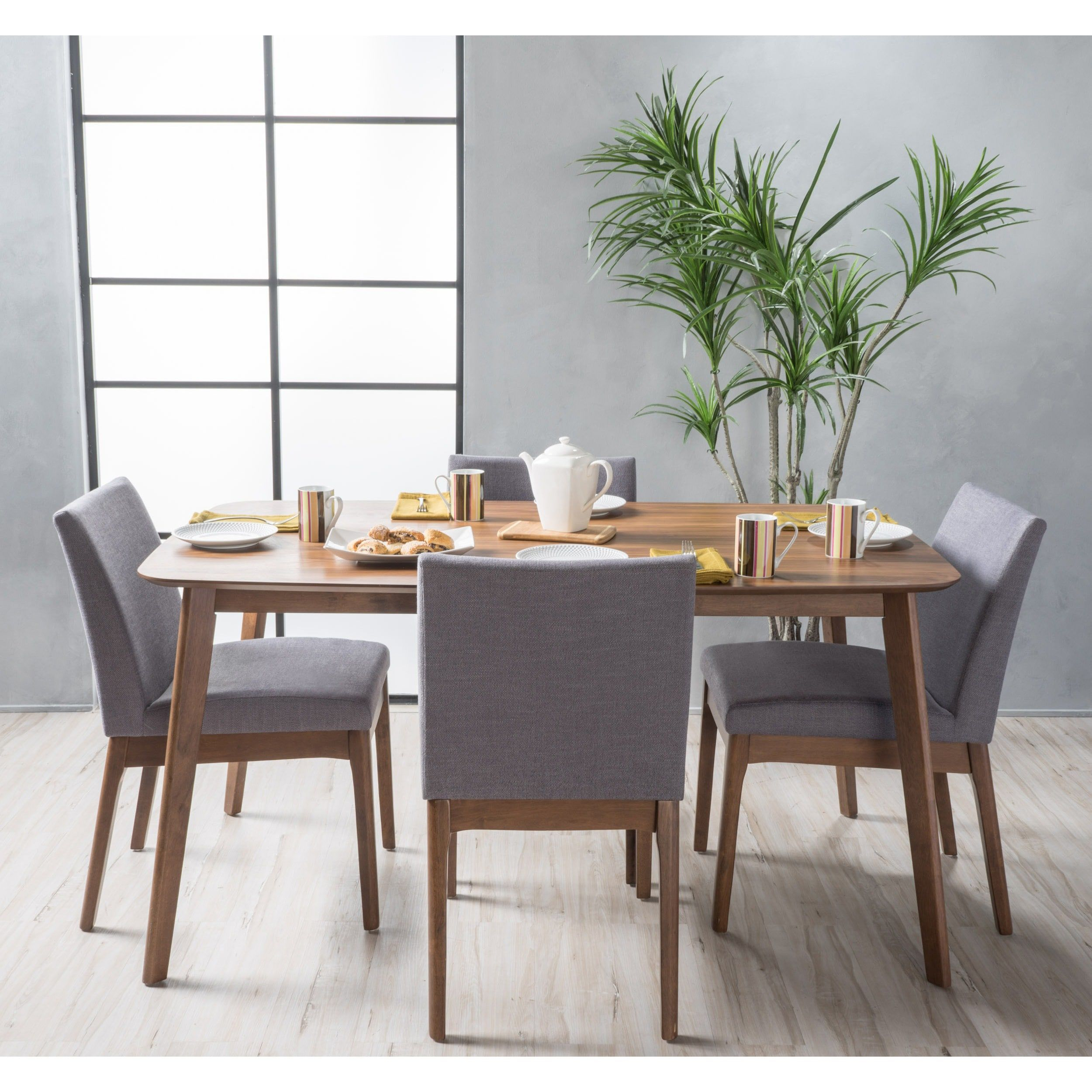 Carson Carrington Kotka Mid Century 5 Piece Dining Set (Walnut For Recent Tavarez 5 Piece Dining Sets (Image 4 of 20)