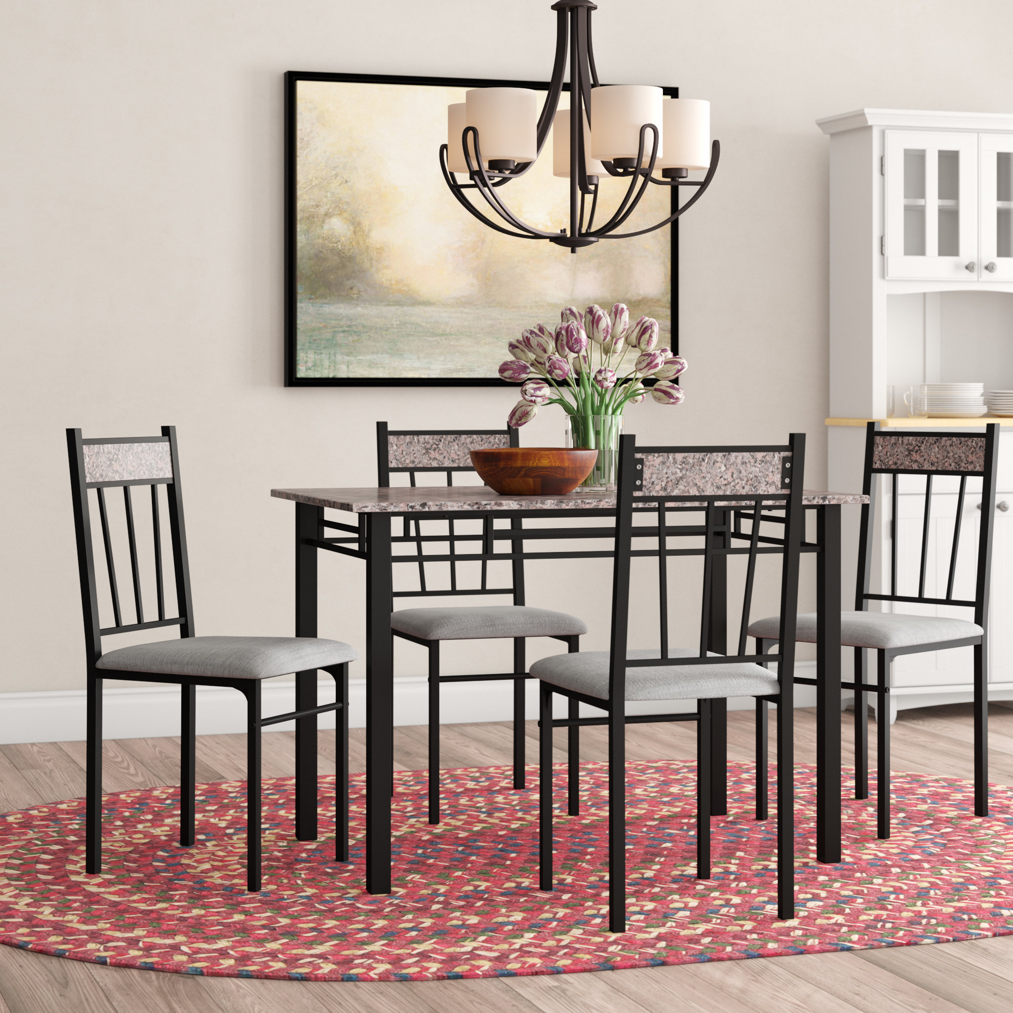 Caspar 5 Piece Dining Set For 2018 Liles 5 Piece Breakfast Nook Dining Sets (Photo 4 of 20)