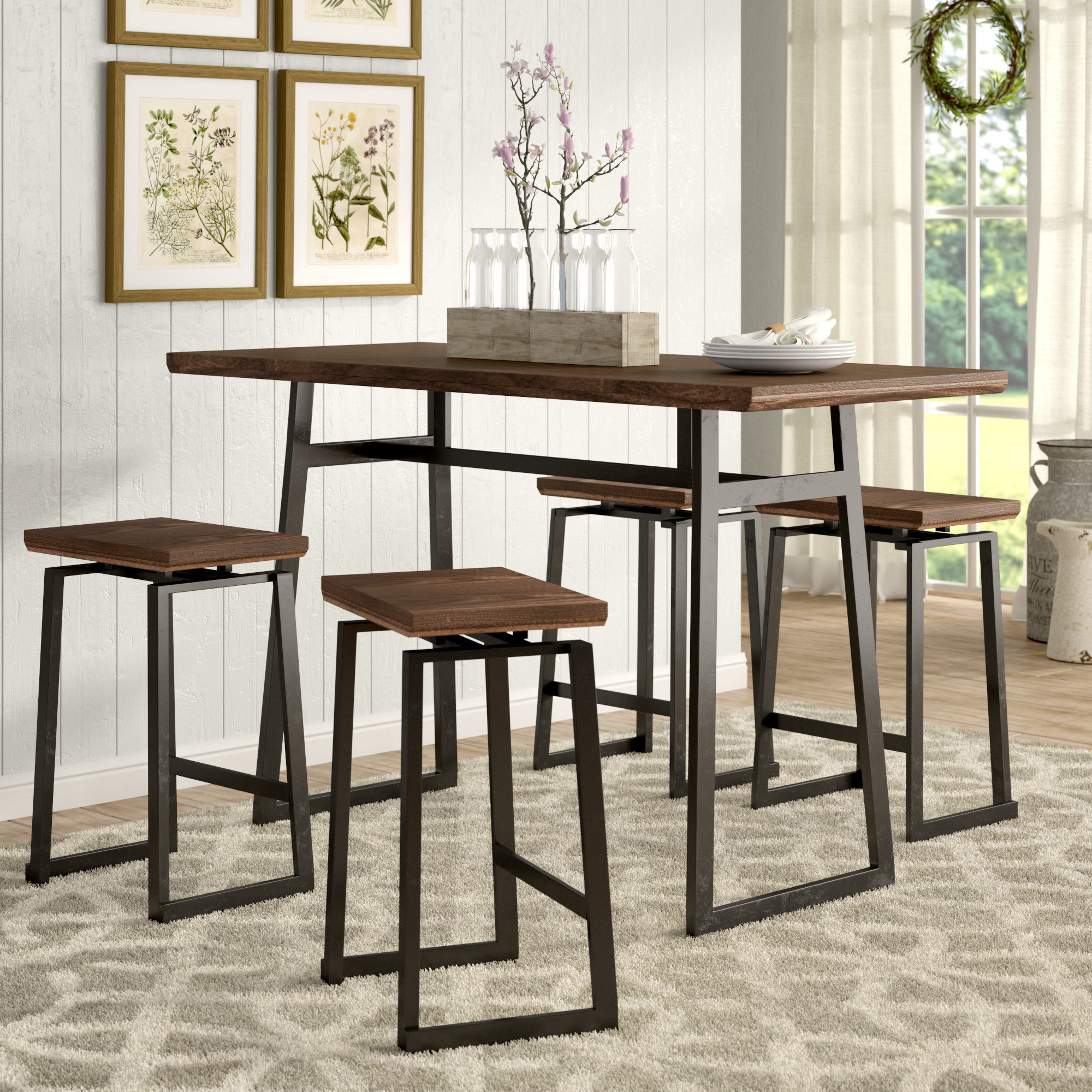 Cassiopeia Industrial 5 Piece Counter Height Dining Set Throughout 2017 Winsted 4 Piece Counter Height Dining Sets (View 3 of 20)