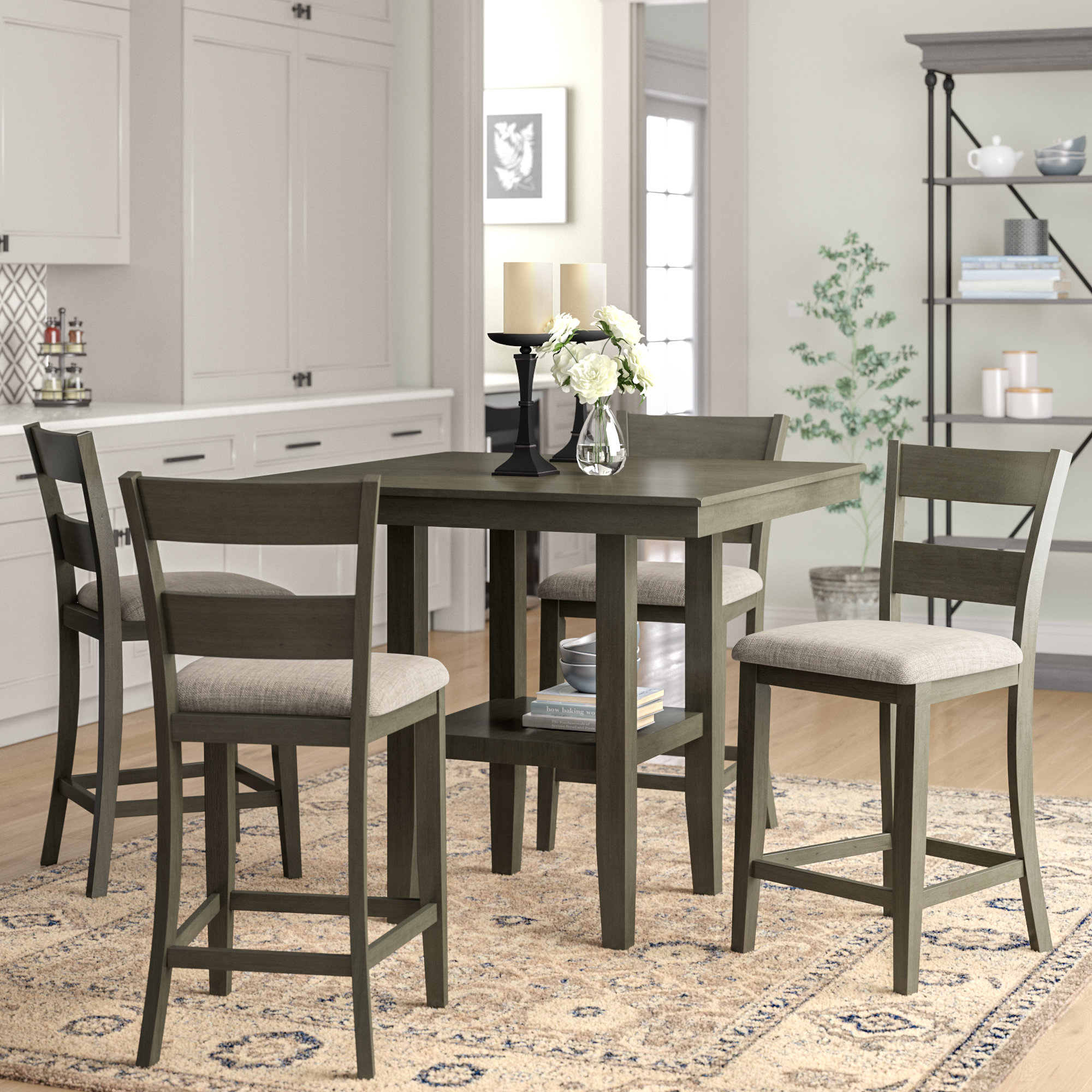 Charlton Home Gwyneth 5 Piece Counter Height Dining Set & Reviews For Most Recent Tappahannock 3 Piece Counter Height Dining Sets (Photo 11 of 20)