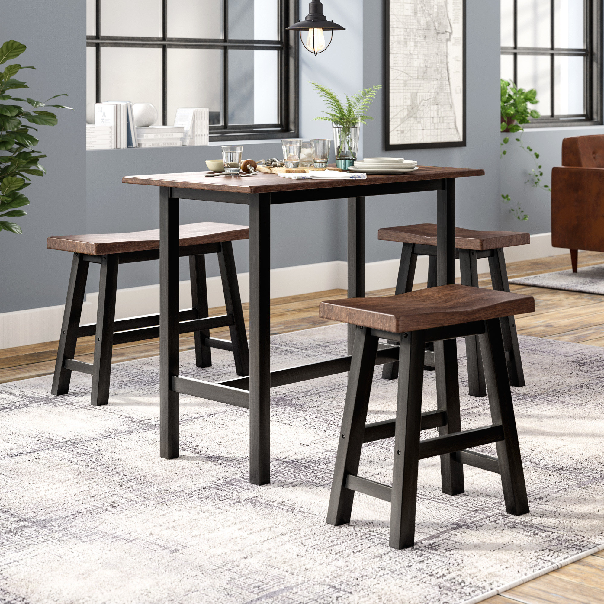 Chelsey 4 Piece Dining Set Throughout Recent Berrios 3 Piece Counter Height Dining Sets (Photo 7 of 20)