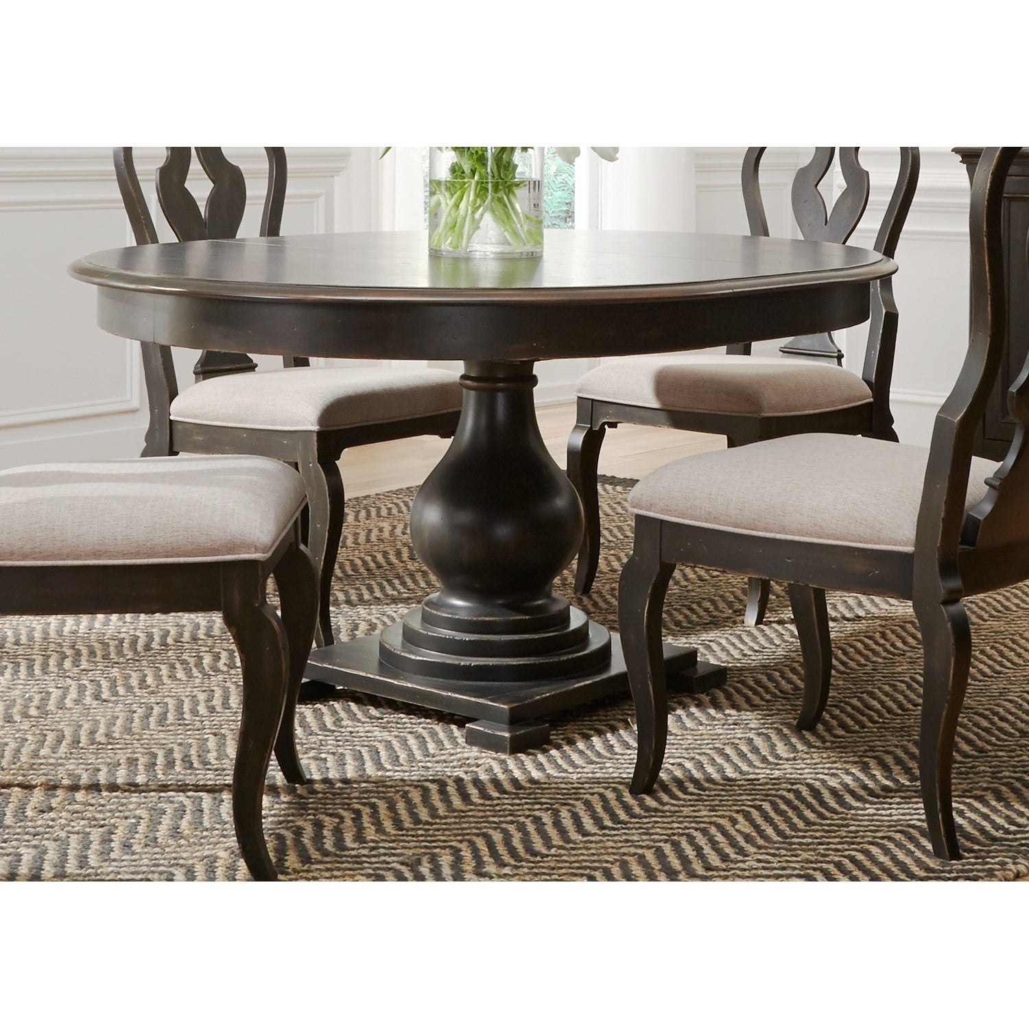 Chesapeake Wire Brushed Antique Black 48X60 Pedestal Dinette Table Inside Recent Debby Small Space 3 Piece Dining Sets (Photo 16 of 20)
