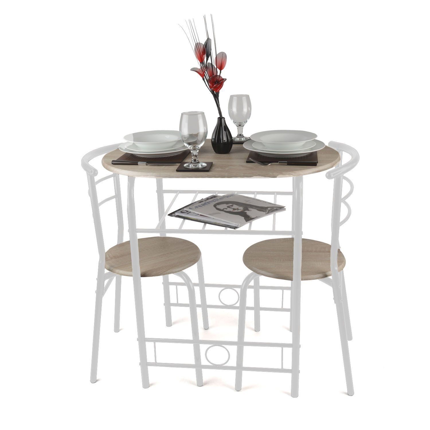 Christow 3 Piece Breakfast Dining Set White: Amazon.co.uk: Kitchen In Most Popular 3 Piece Breakfast Dining Sets (Photo 3 of 20)