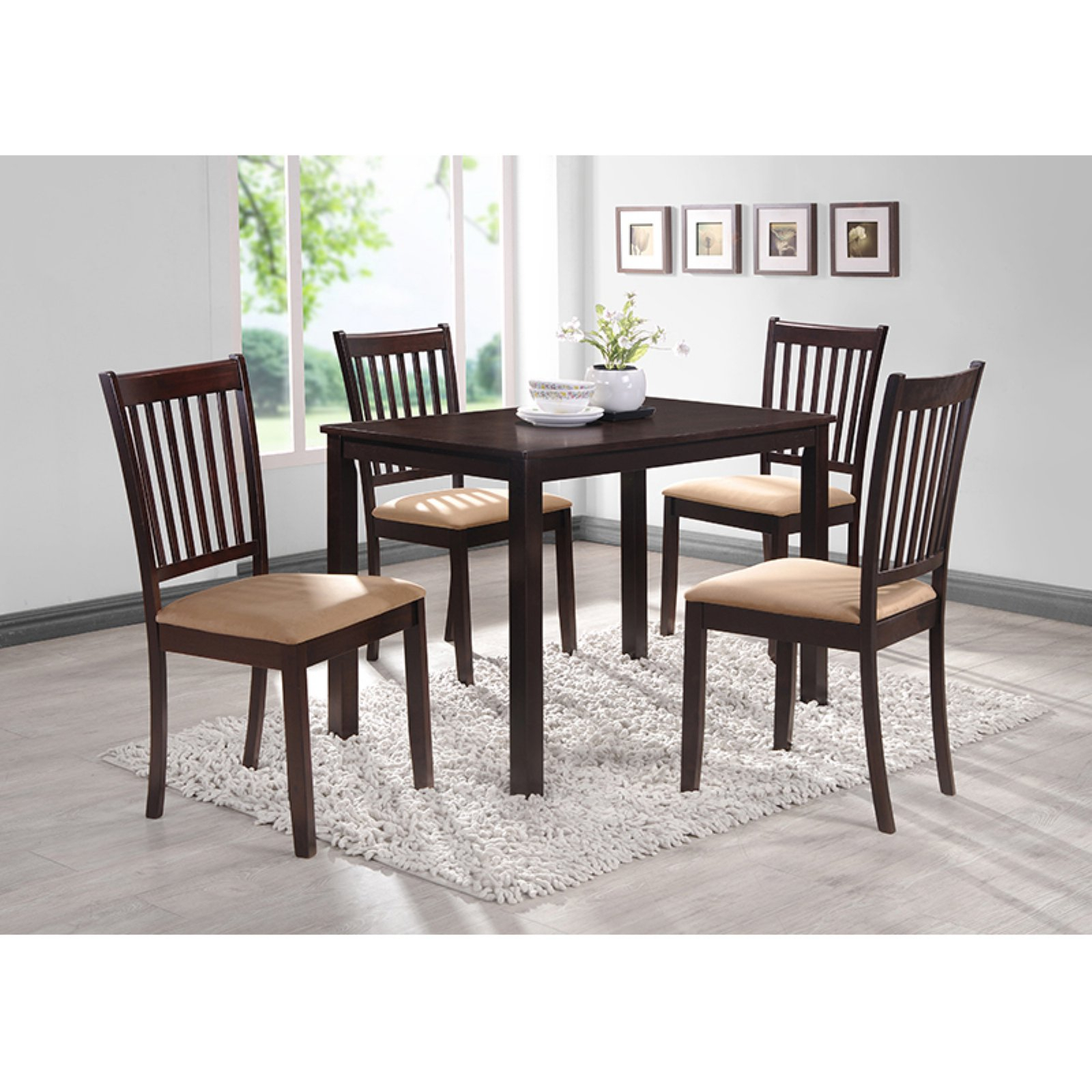 Coaster Hyde Rectangular Casual Dining Leg Table In Cappuccino Pertaining To 2017 Kieffer 5 Piece Dining Sets (Photo 19 of 20)