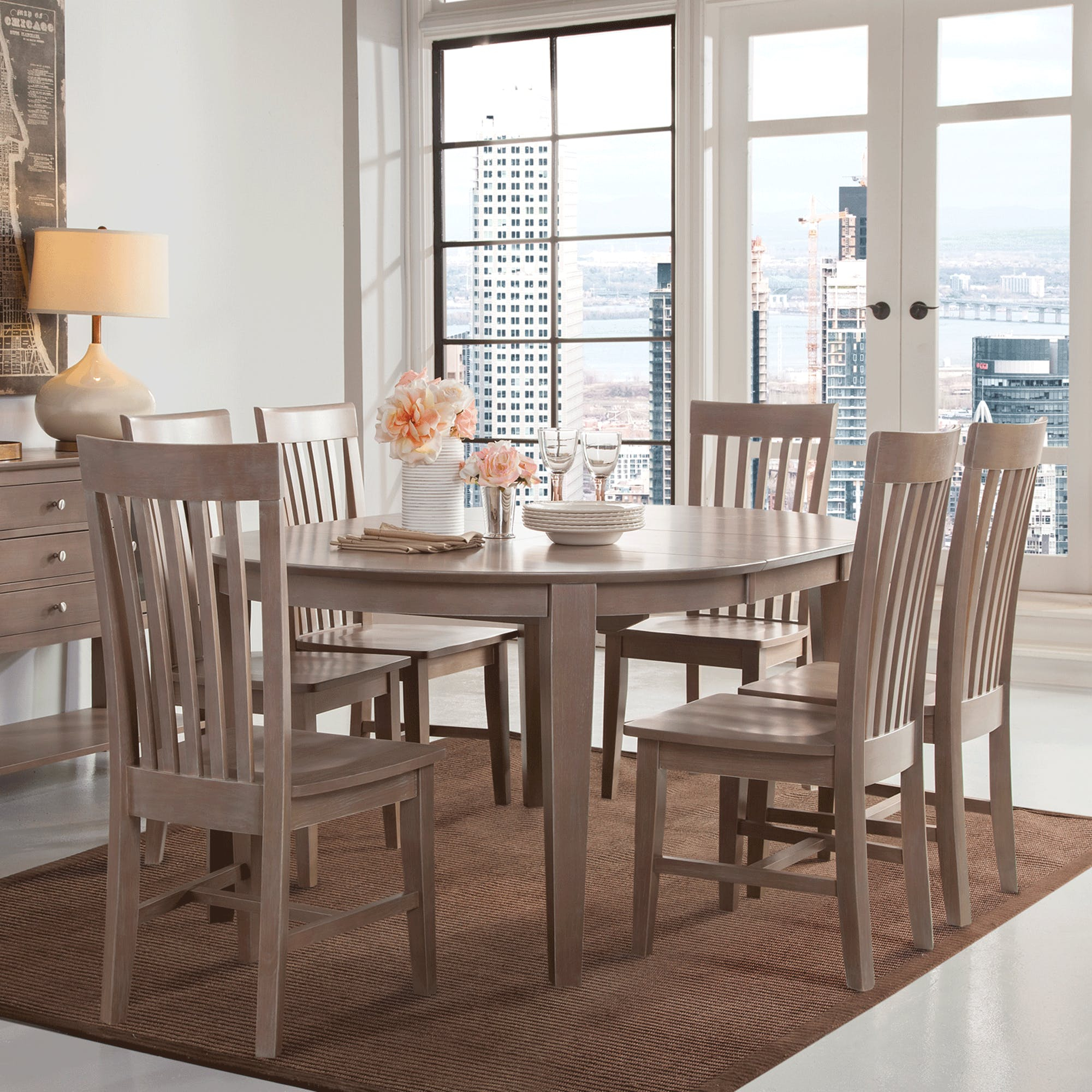 Cosmopolitan Weathered Grey Dining Room 5 Piece Set – Oval Table Regarding Most Current John 4 Piece Dining Sets (Photo 2 of 20)