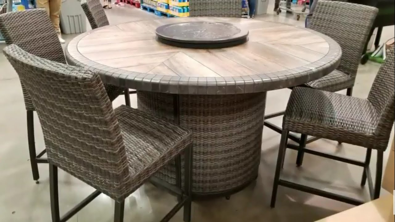 Costco! Agio 7 Pc High Dinning Set With Fire Table! $1299!!! With Regard To Latest Northwoods 3 Piece Dining Sets (Image 5 of 20)
