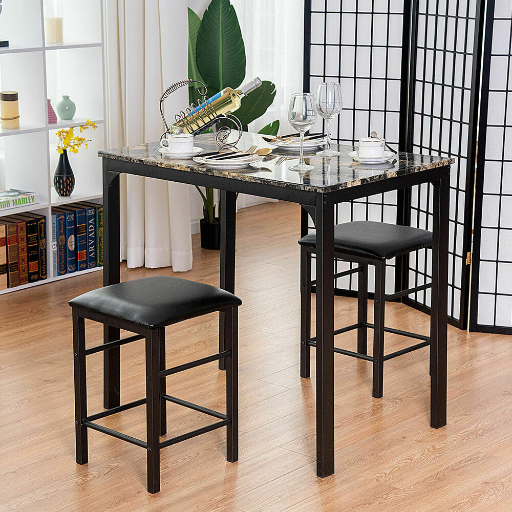 Costway 3 Piece Counter Height Dining Set, Faux Marble | Ebay Regarding Most Up To Date Mizpah 3 Piece Counter Height Dining Sets (Image 8 of 20)