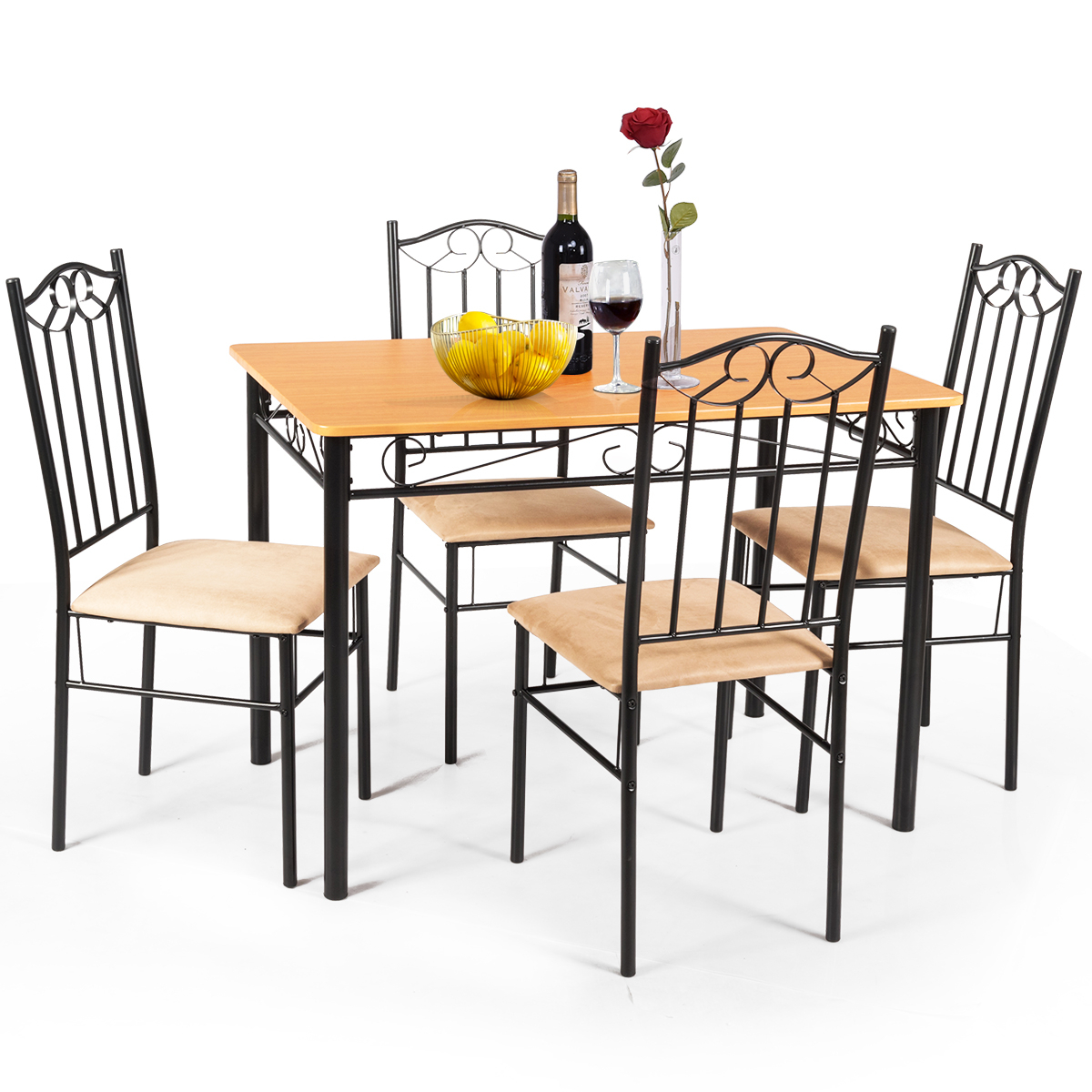 Costway: 5 Pc Dining Set Wood Metal Table And 4 Chairs Kitchen Intended For Most Up To Date Cargo 5 Piece Dining Sets (View 19 of 20)