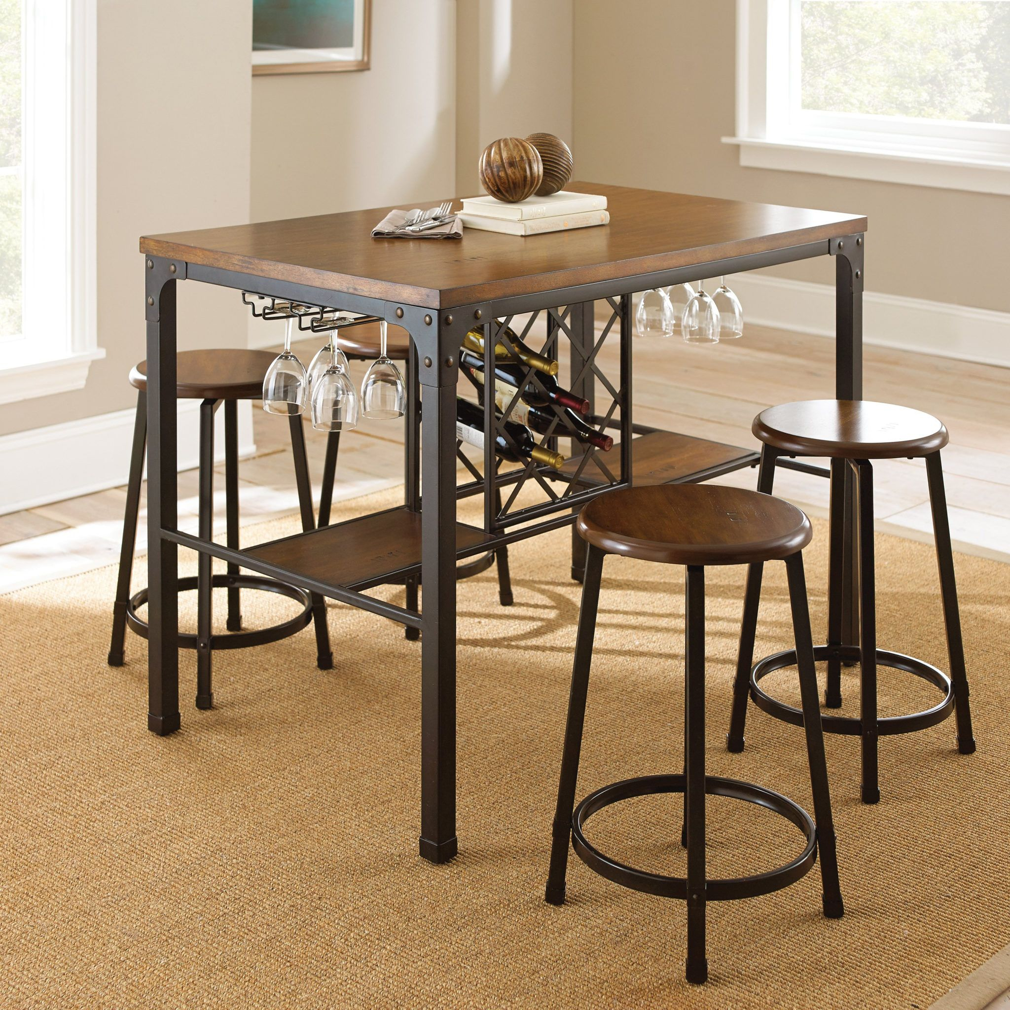 Creative Kitchen Table With Wine Rack Underneath | Kitchentable In Within Latest Berrios 3 Piece Counter Height Dining Sets (Photo 9 of 20)