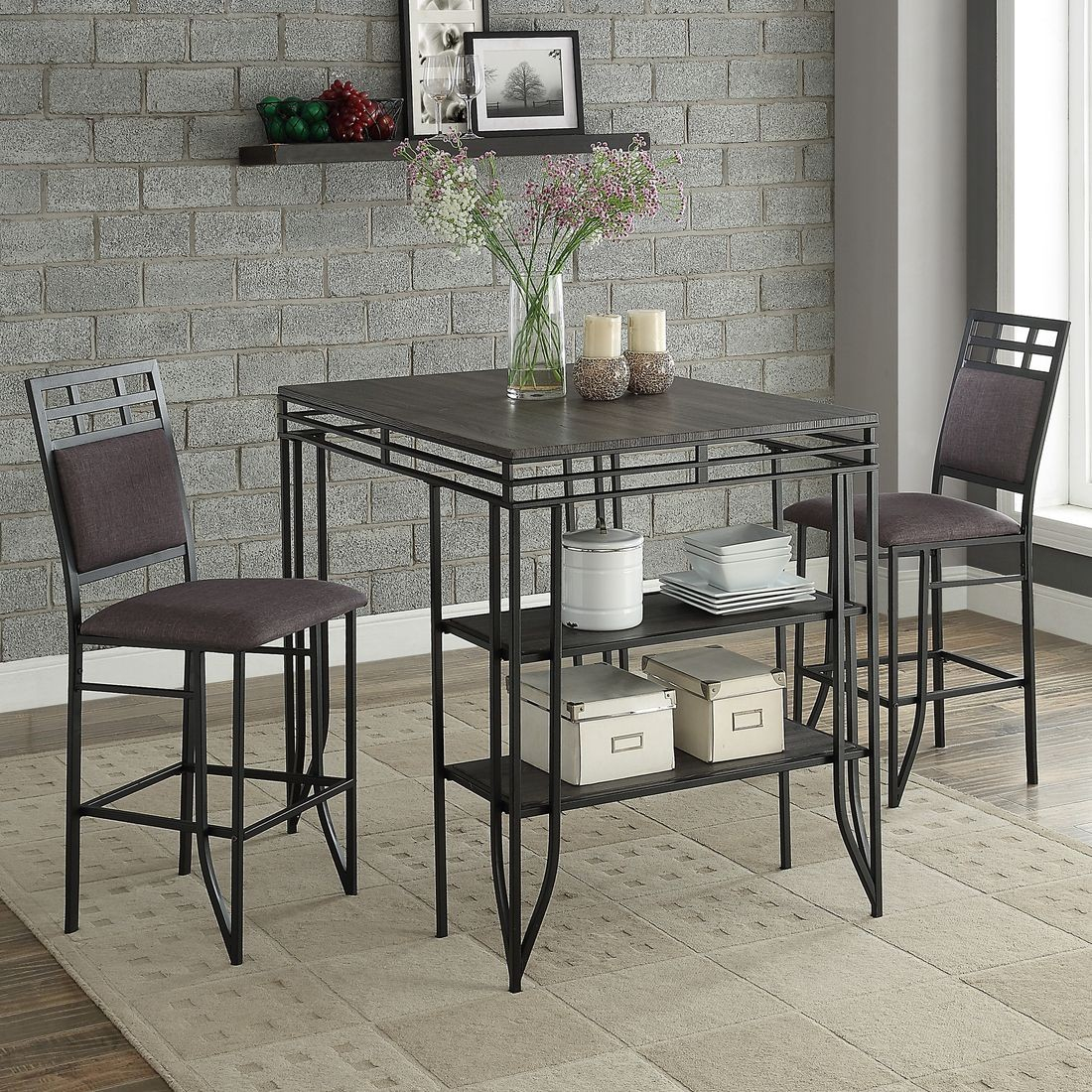 Crown Mark Matrix 3 Piece Counter Height Dining Set In Black With Newest 3 Piece Dining Sets (View 18 of 20)
