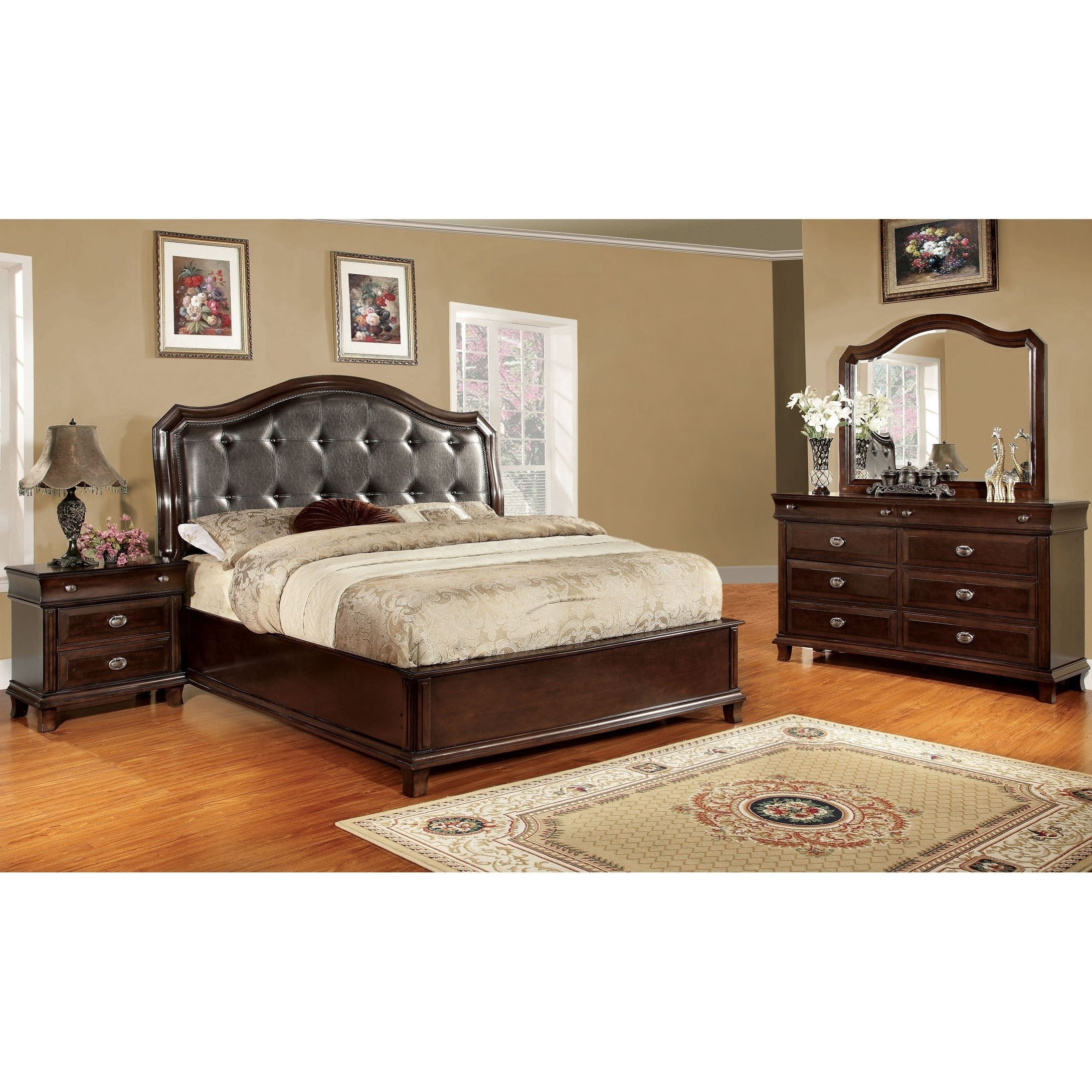 Crown Transitional Brown Cherry 4 Piece Platform Bedroom Set Inside Most Recently Released Crownover 3 Piece Bar Table Sets (Image 9 of 20)