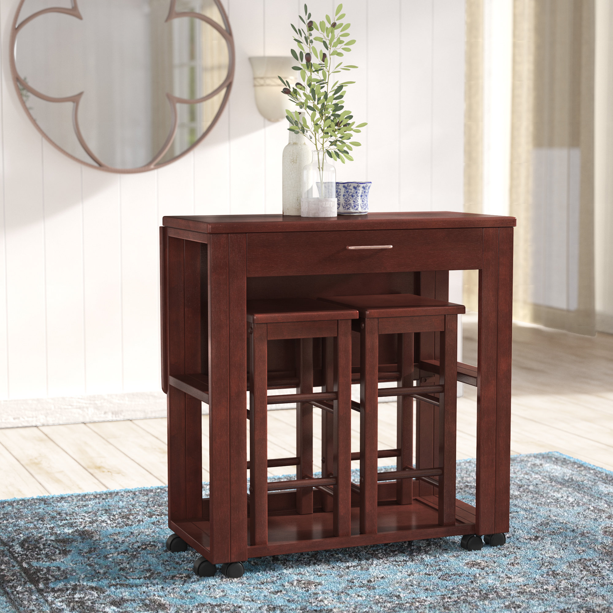 Crownover 3 Piece Bar Table Set Throughout Current Poynter 3 Piece Drop Leaf Dining Sets (View 12 of 20)