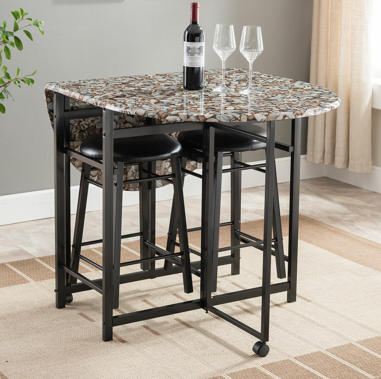Cuyahoga 3 Piece Pub Table Set Within Recent Mizpah 3 Piece Counter Height Dining Sets (Photo 18 of 20)
