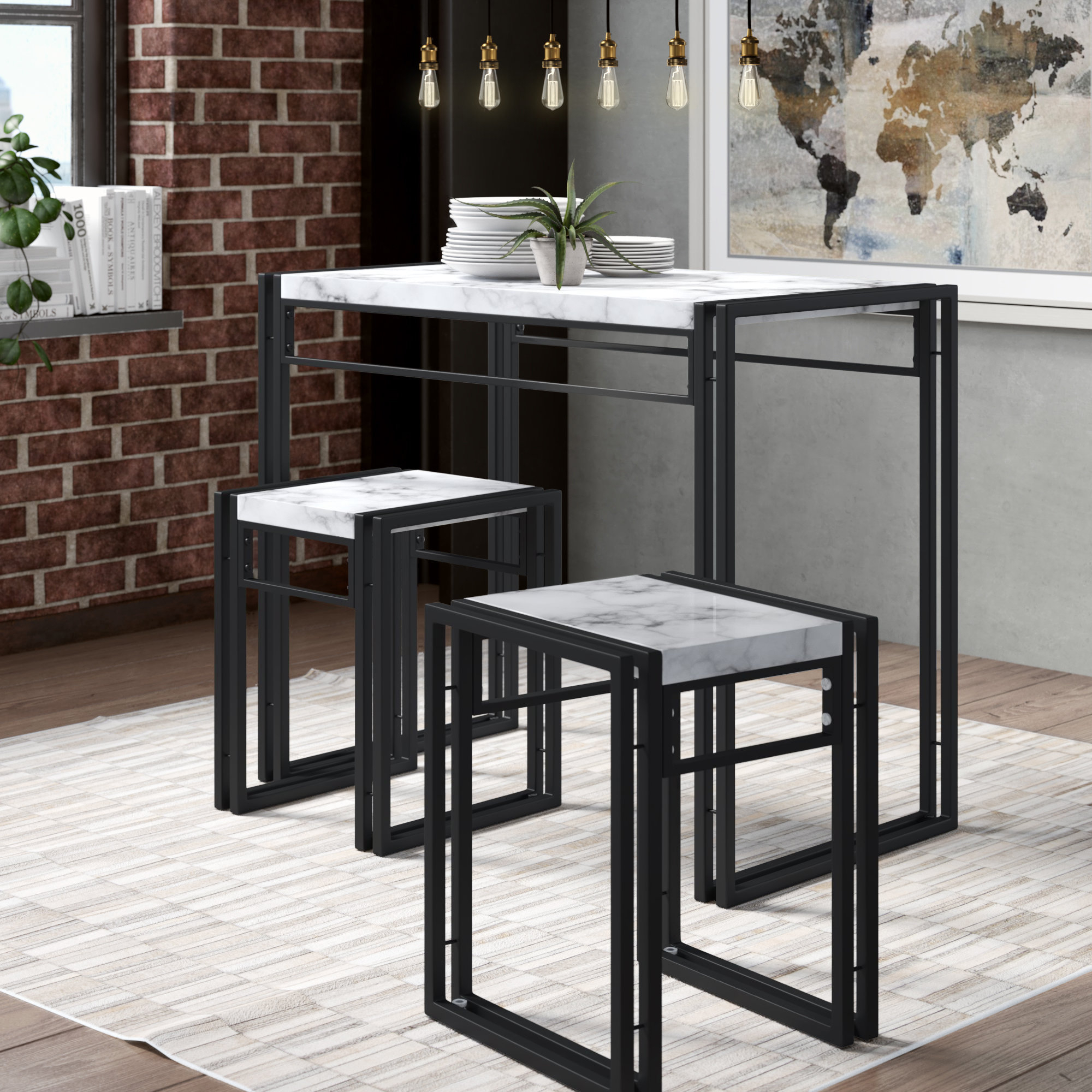 Debby Small Space 3 Piece Dining Set With 2018 Miskell 3 Piece Dining Sets (Image 3 of 20)