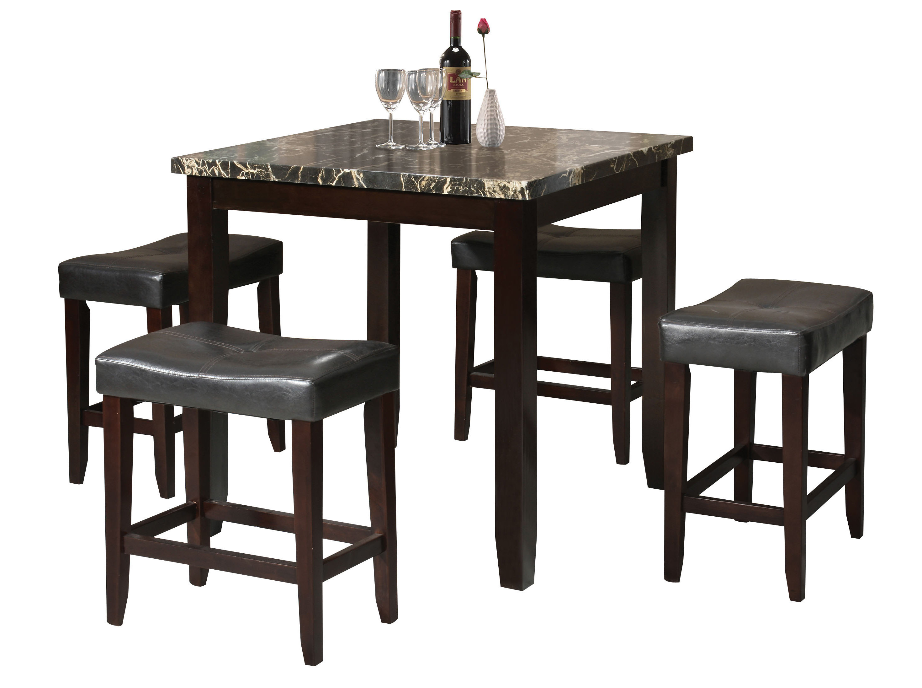Dehaven 5 Piece Counter Height Dining Set Intended For Best And Newest Tenney 3 Piece Counter Height Dining Sets (Photo 11 of 20)