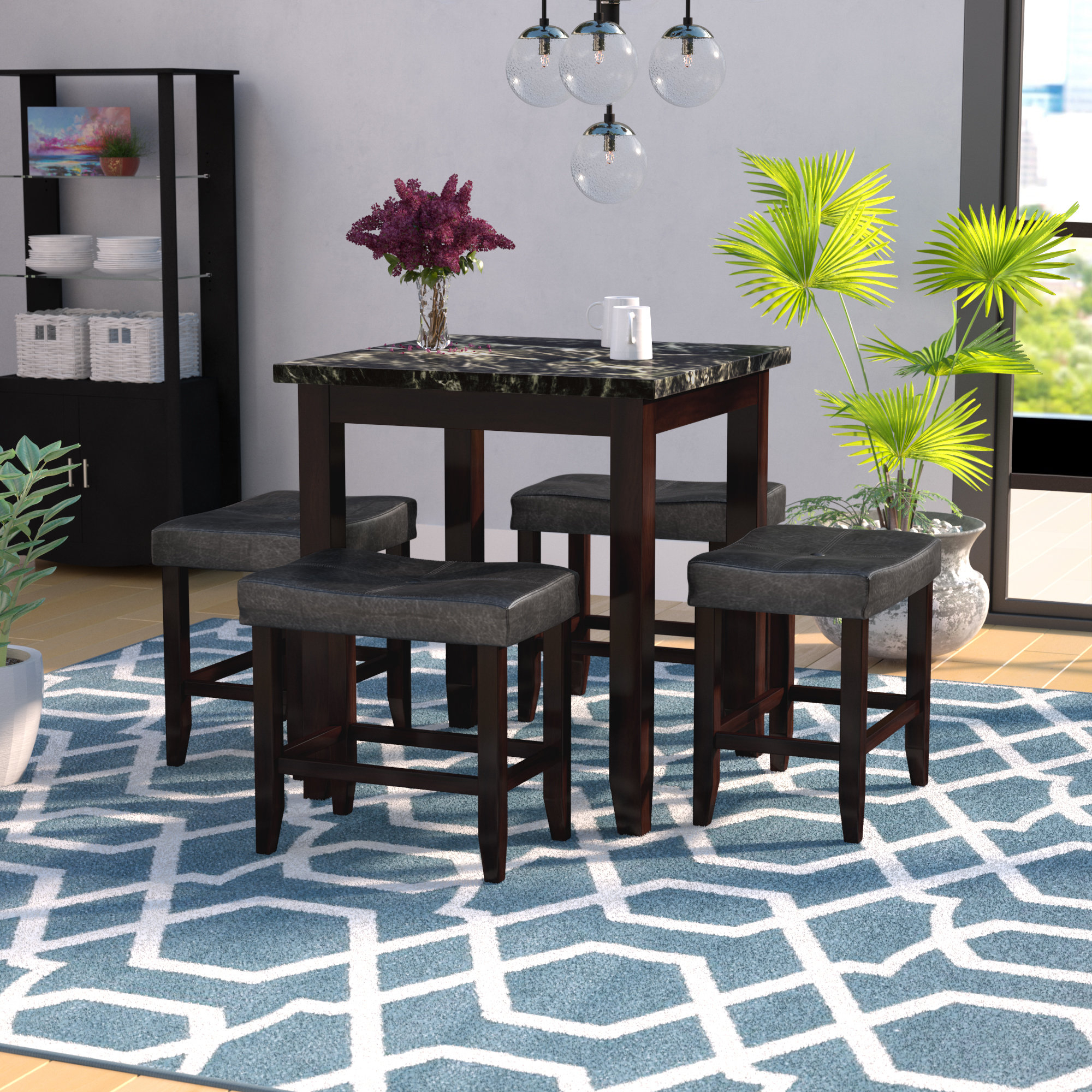 Dehaven 5 Piece Counter Height Dining Set Within Latest Miskell 3 Piece Dining Sets (Image 4 of 20)