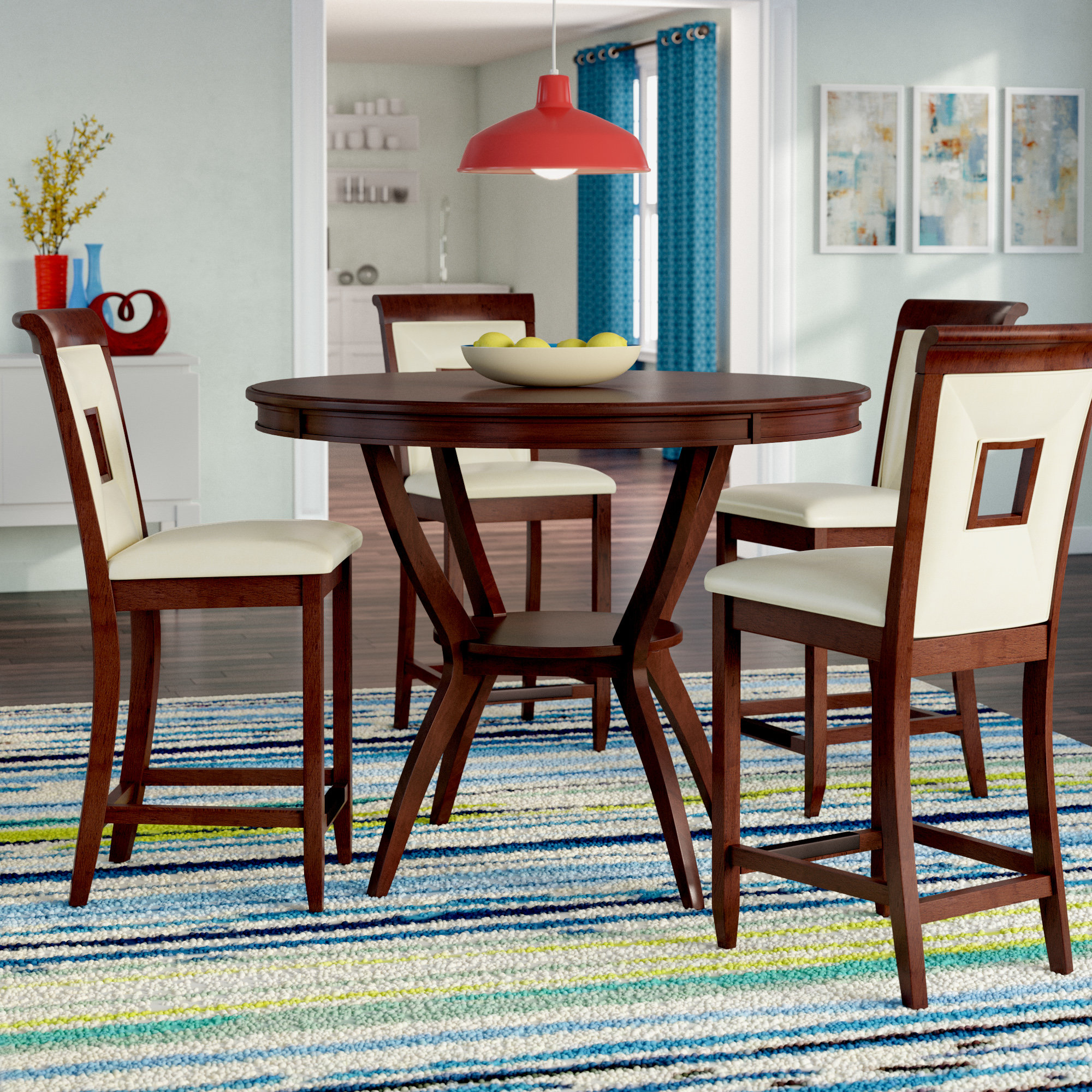 Deherrera 5 Piece Counter Height Dining Set Intended For 2018 Denzel 5 Piece Counter Height Breakfast Nook Dining Sets (Image 10 of 20)