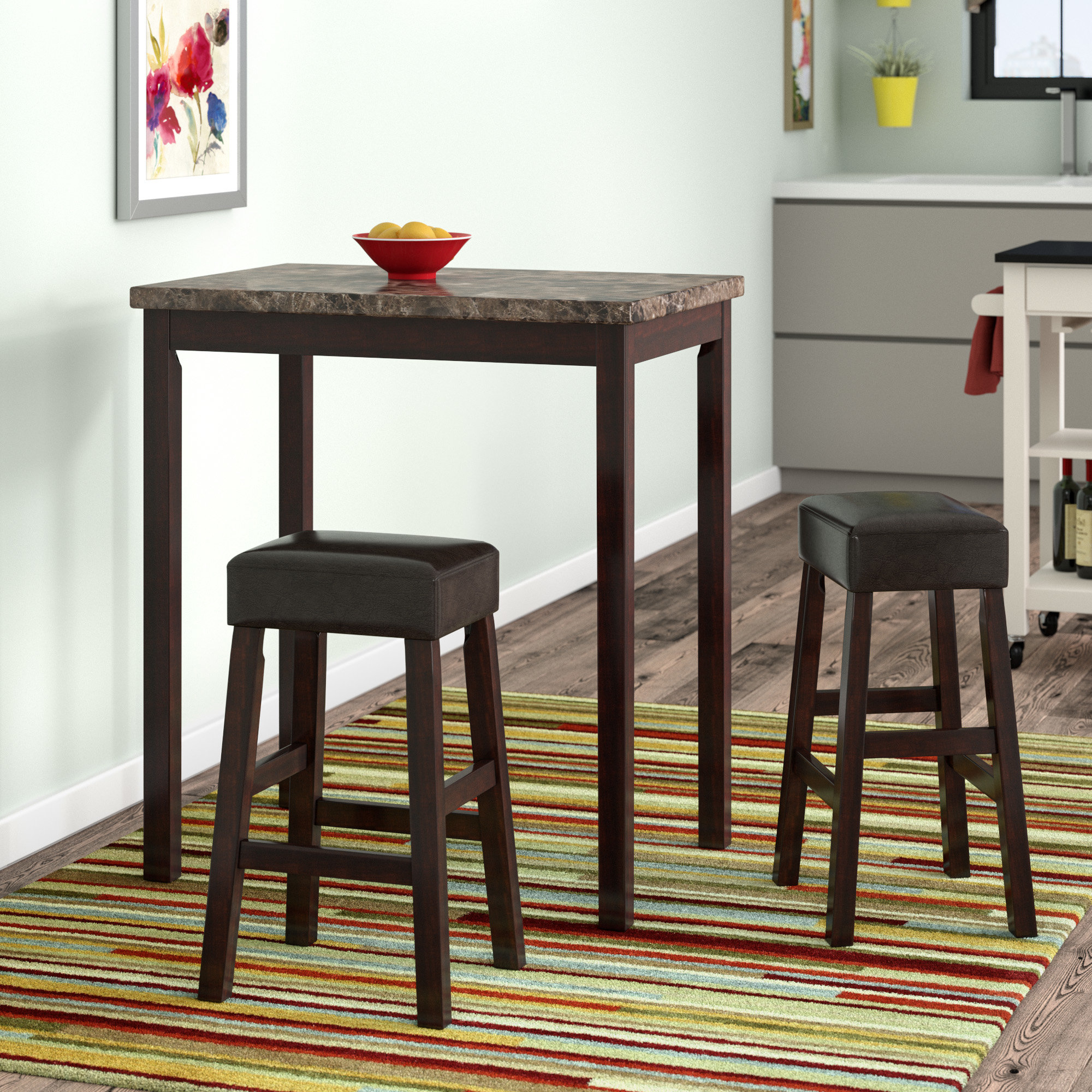 Deitch 3 Piece Counter Height Dining Set Throughout Newest Tappahannock 3 Piece Counter Height Dining Sets (Photo 8 of 20)