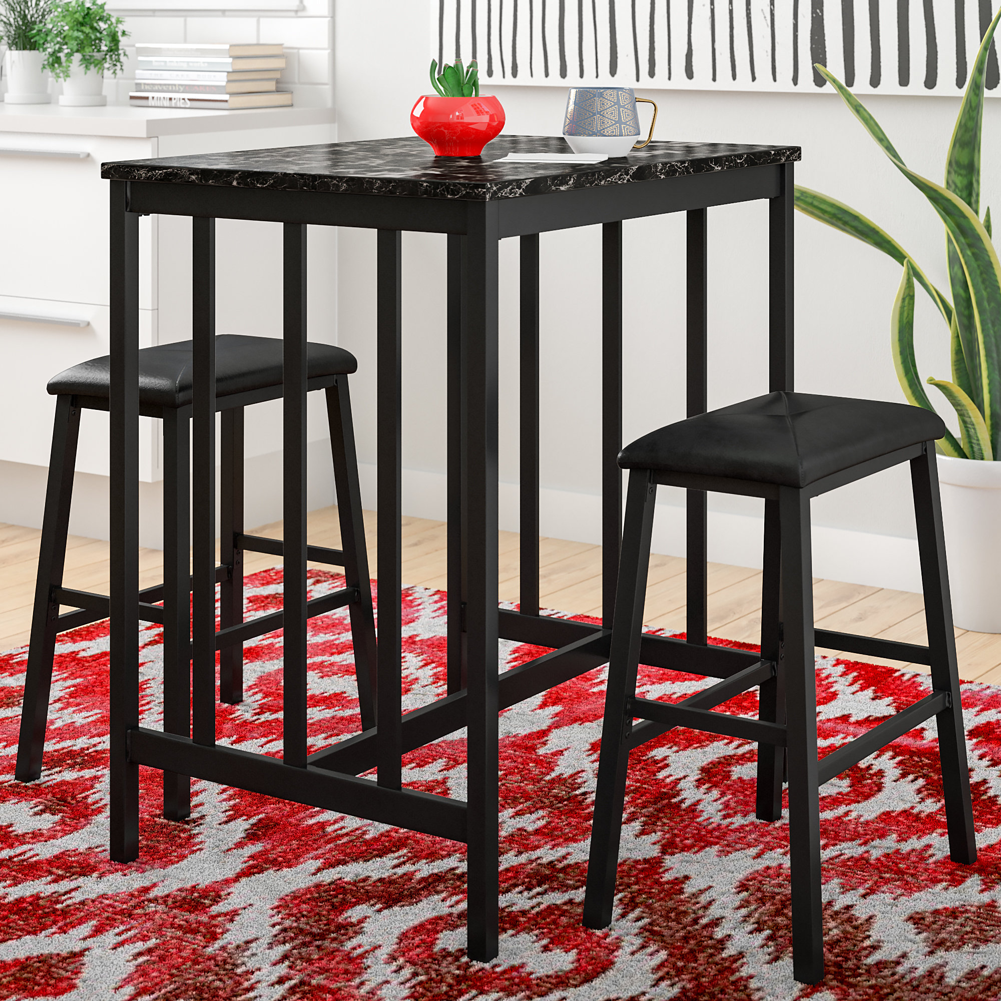 Della 3 Piece Pub Table Set Within 2018 Miskell 3 Piece Dining Sets (Photo 8 of 20)