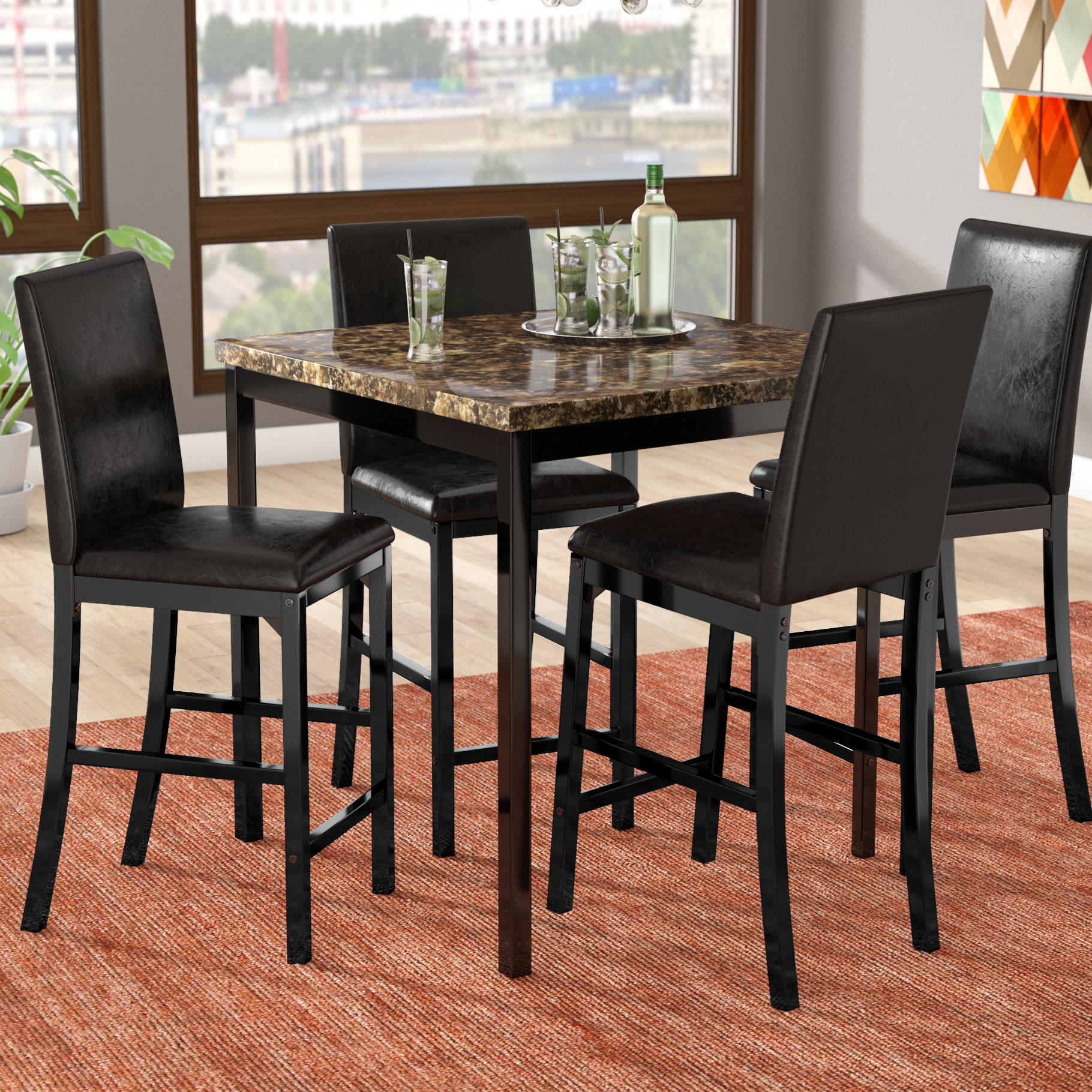 Della 5 Piece Dining Set Intended For 2017 Noyes 5 Piece Dining Sets (View 8 of 20)