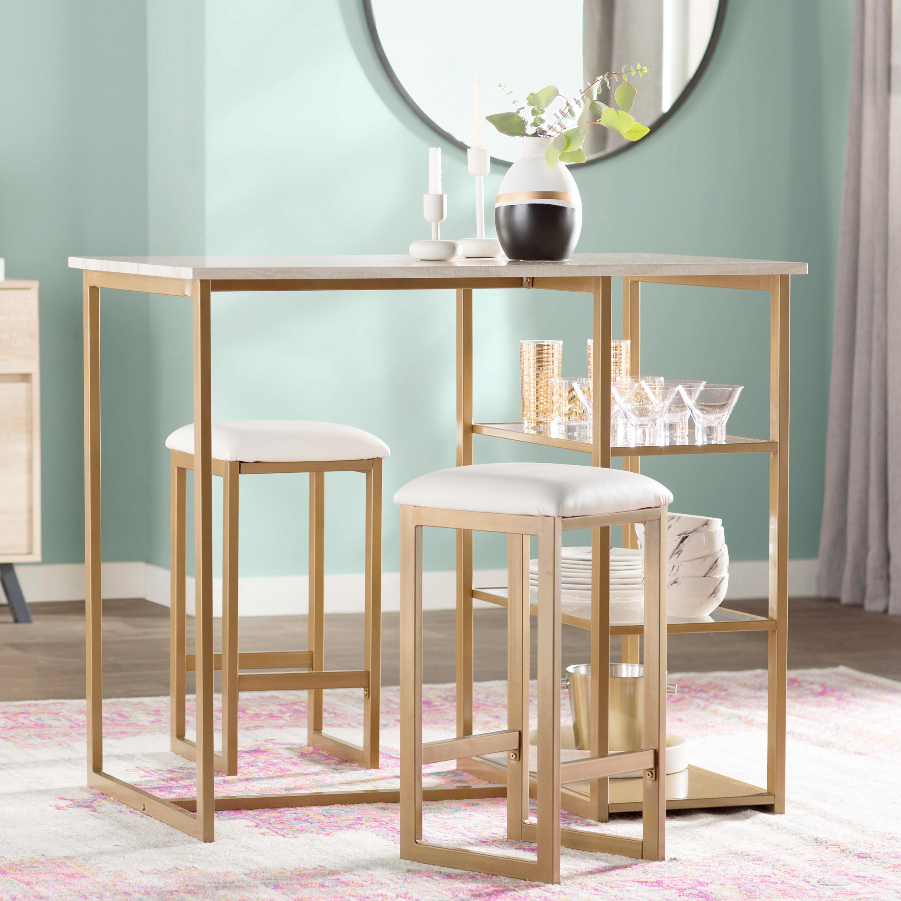 Denham 3 Piece Pub Table Set Intended For Latest Tappahannock 3 Piece Counter Height Dining Sets (Image 10 of 20)